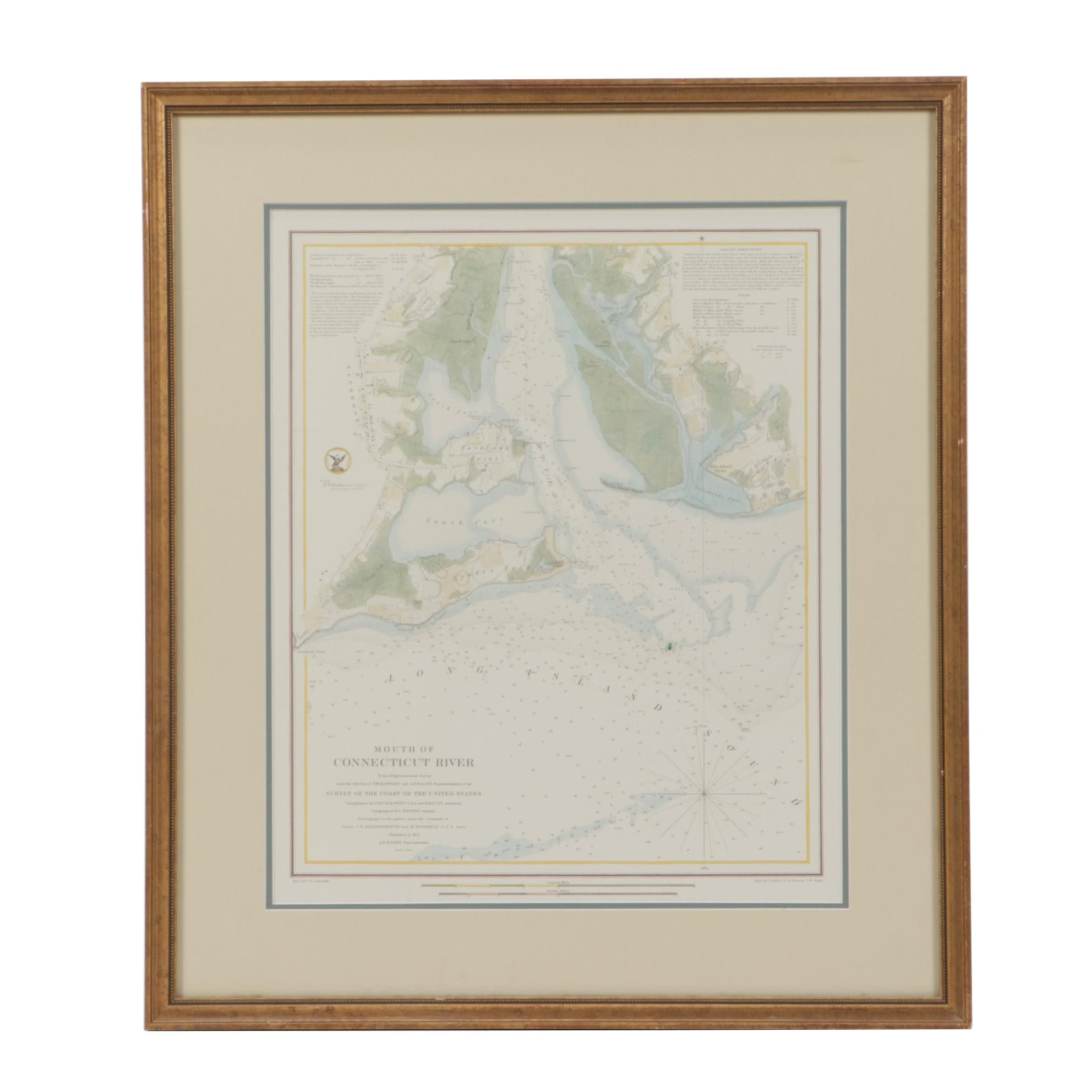 """Hand-colored Engraved Map """"Mouth of Connecticut River"""""""