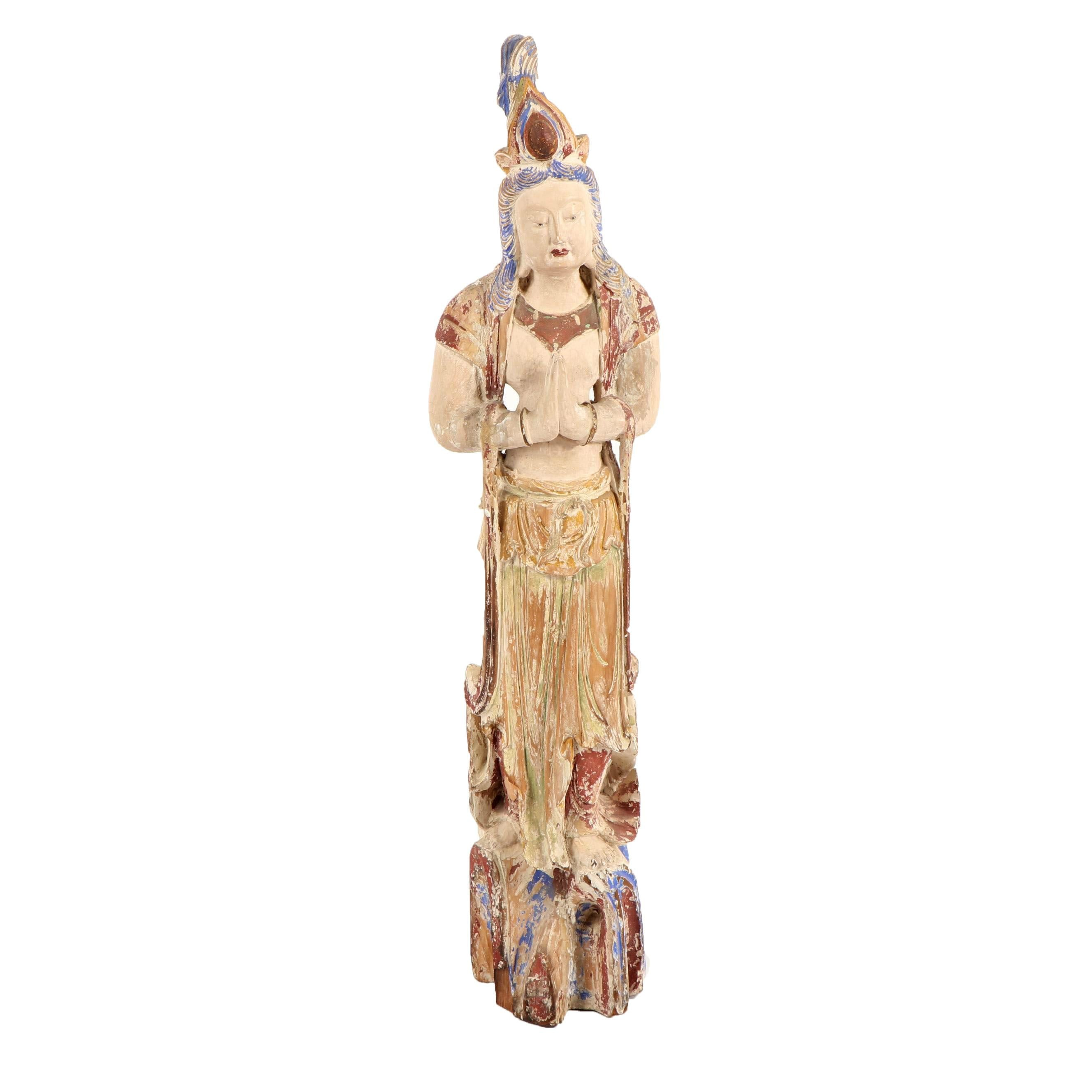 Antique Chinese Polychrome Wood Guanyin Sculpture