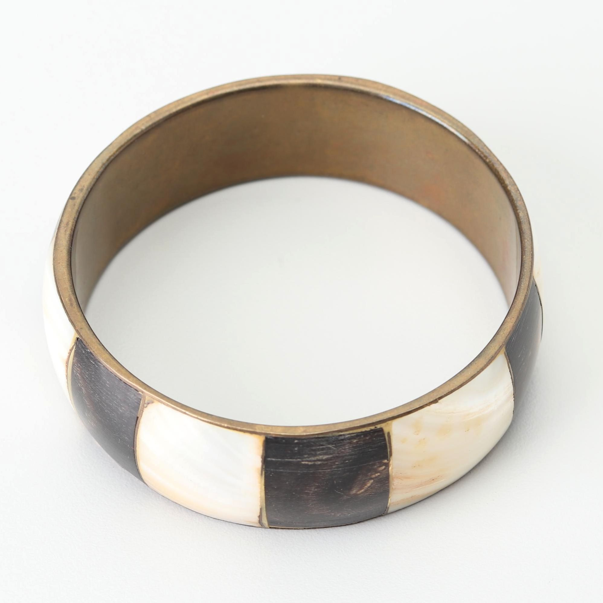 Brass Mother of Pearl and Black Wood Cuff Bracelet