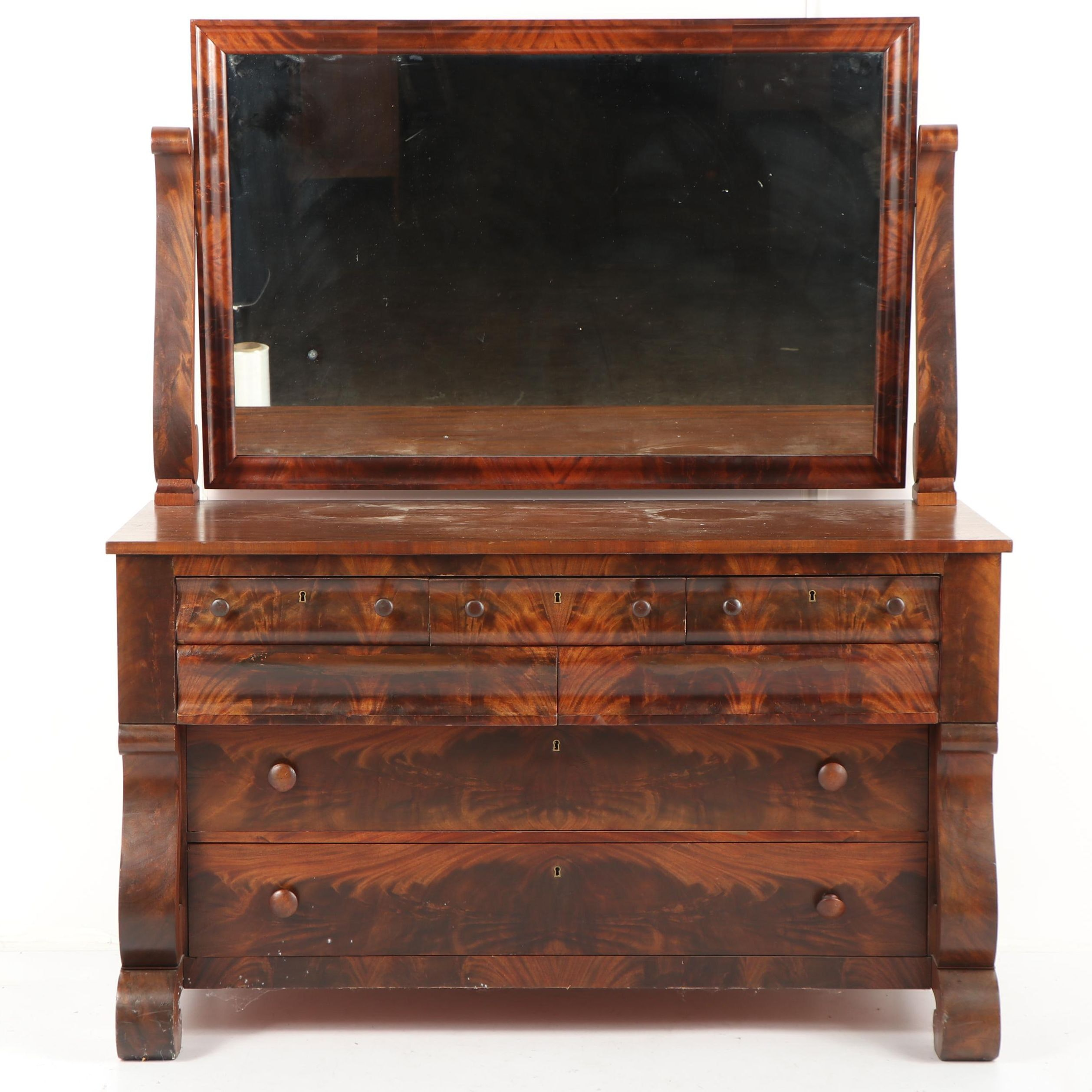 Flame Mahogany Empire Style Dresser and Tilting Mirror