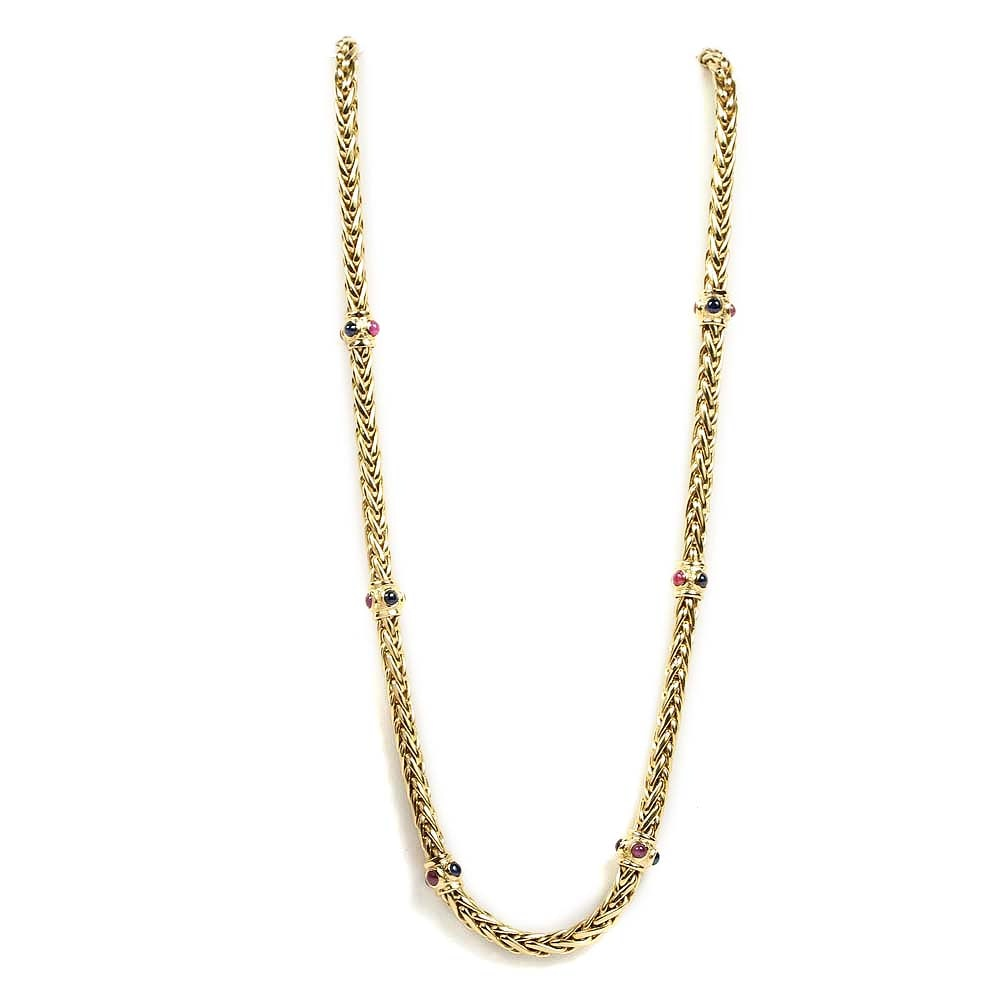 18K Yellow Gold Braided Wheat Chain Necklace with Ruby and Sapphire Stations