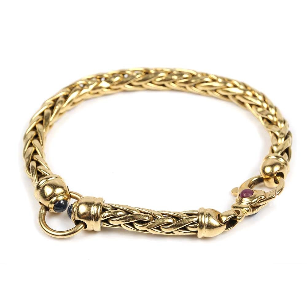 18K Yellow Gold Wheat Chain Bracelet with Ruby and Sapphire Accents