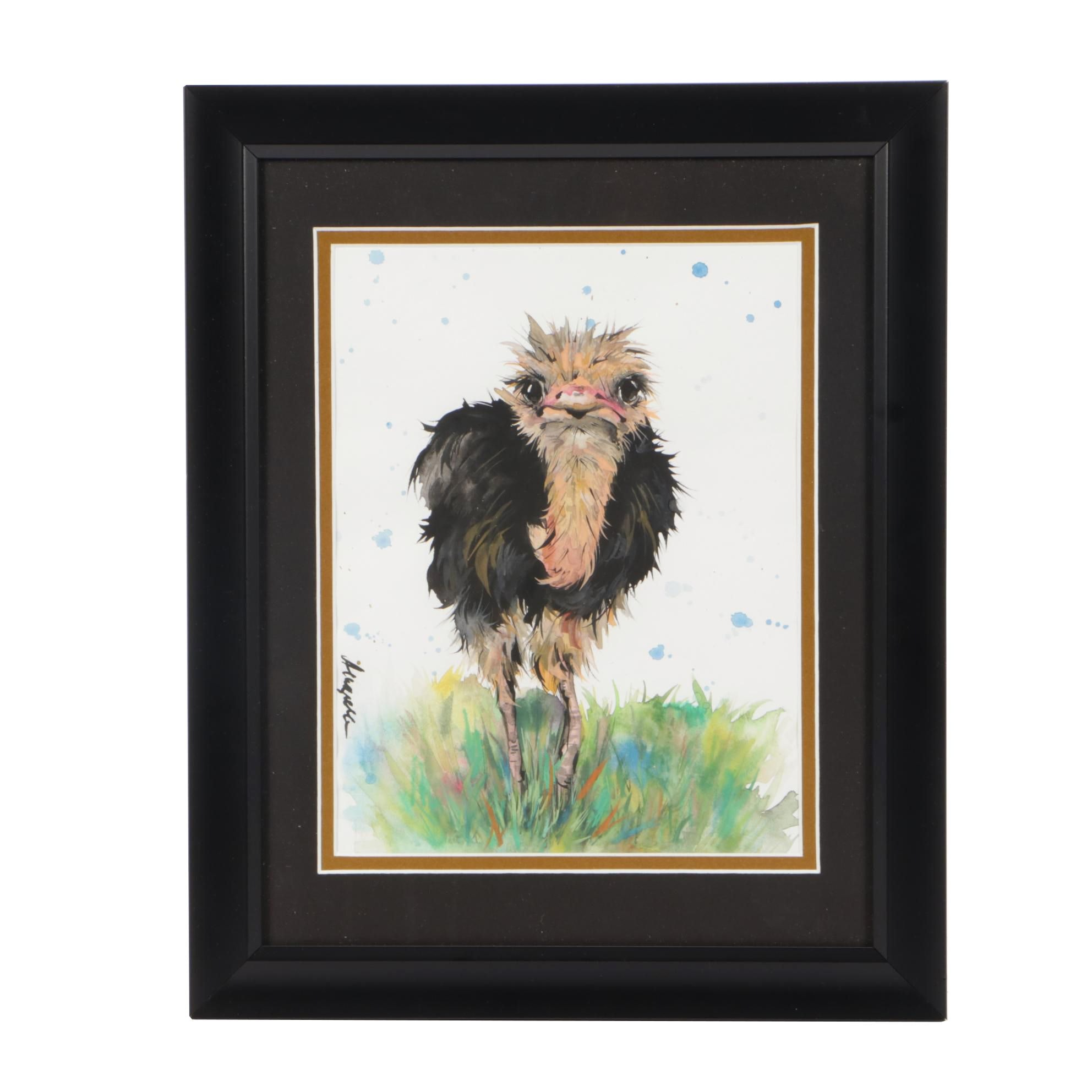 Angor Contemporary Gouache and Watercolor Ostrich Illustration