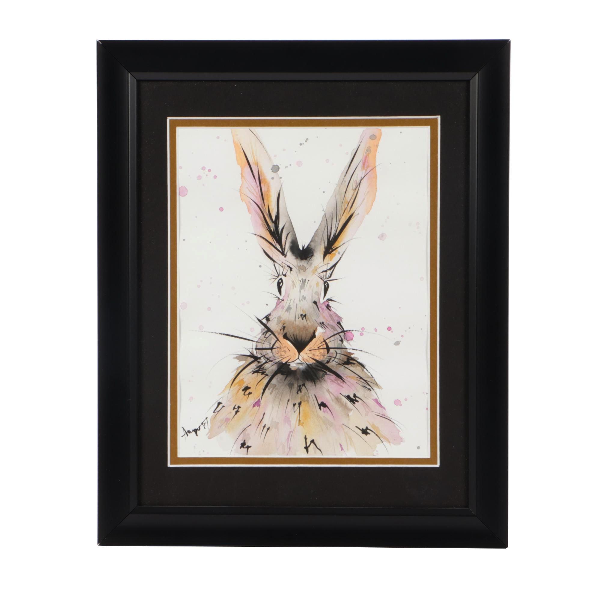 Angor Contemporary Gouache and Watercolor Rabbit Illustration