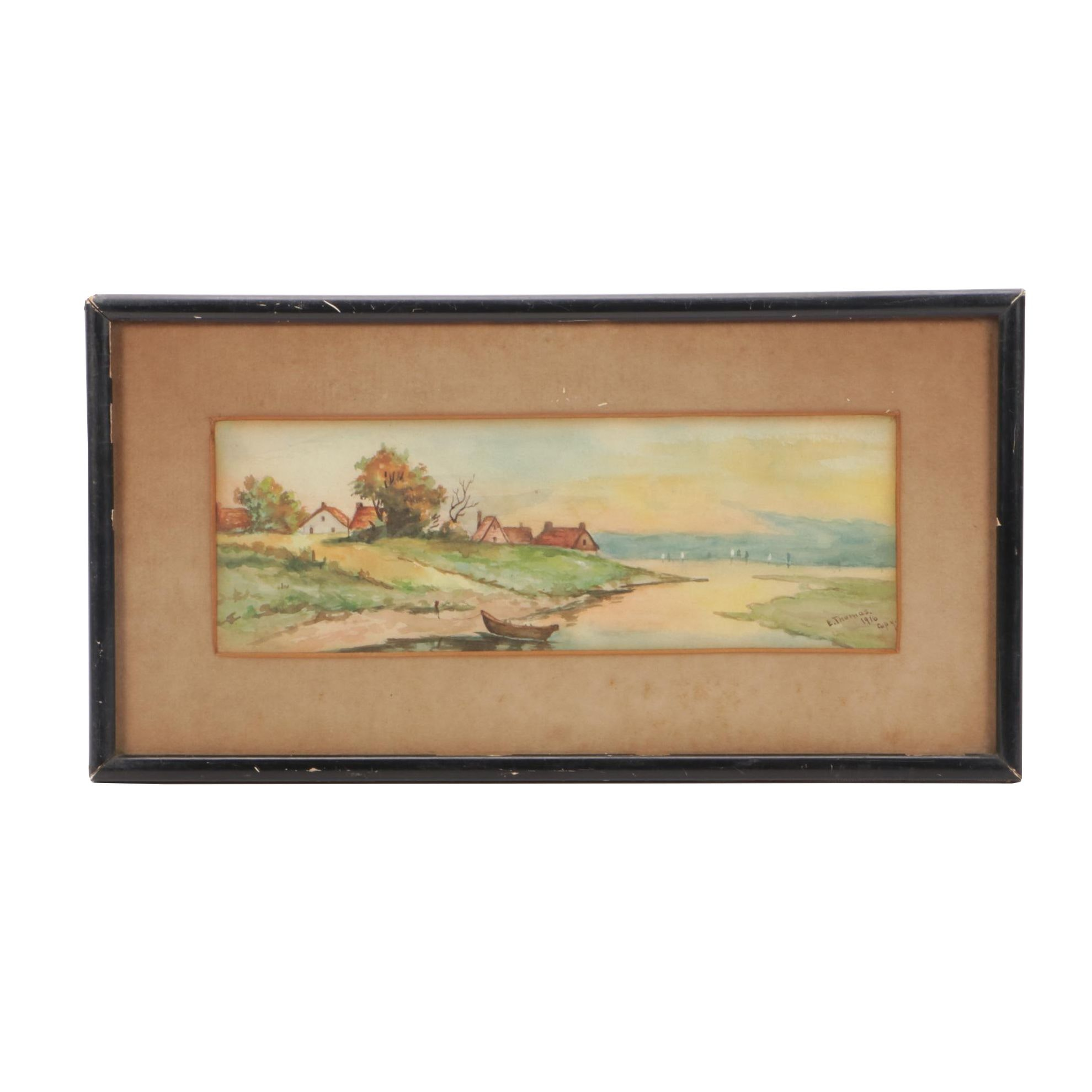 Early 20th-Century Watercolor Landscape Copy Painting