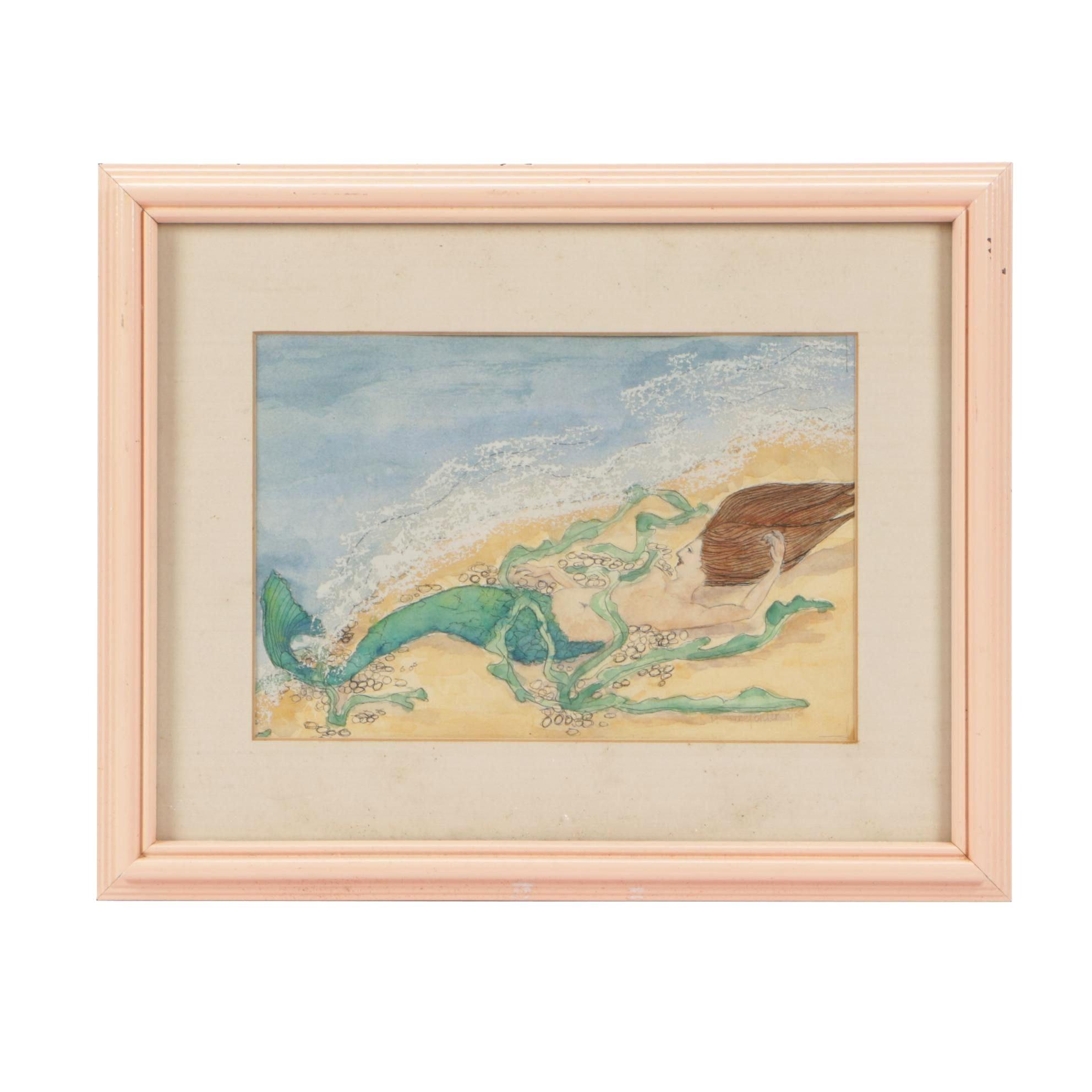M. Schepohler 1982 Gouache, Ink and Watercolor Mermaid Illustration