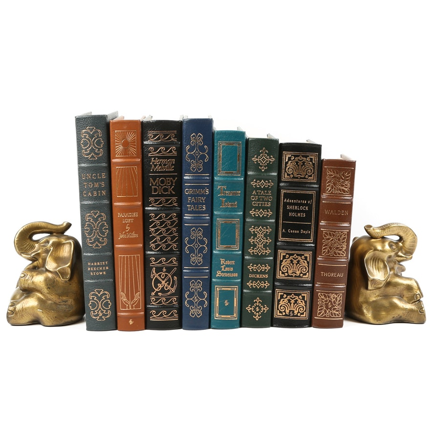 Easton Press Leather Bound Novels and Brass Elephant Bookends