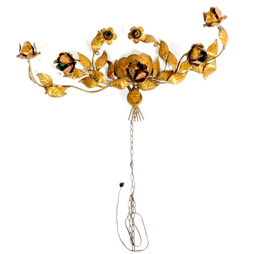 Gilt-Metal Floral Wall Sconce