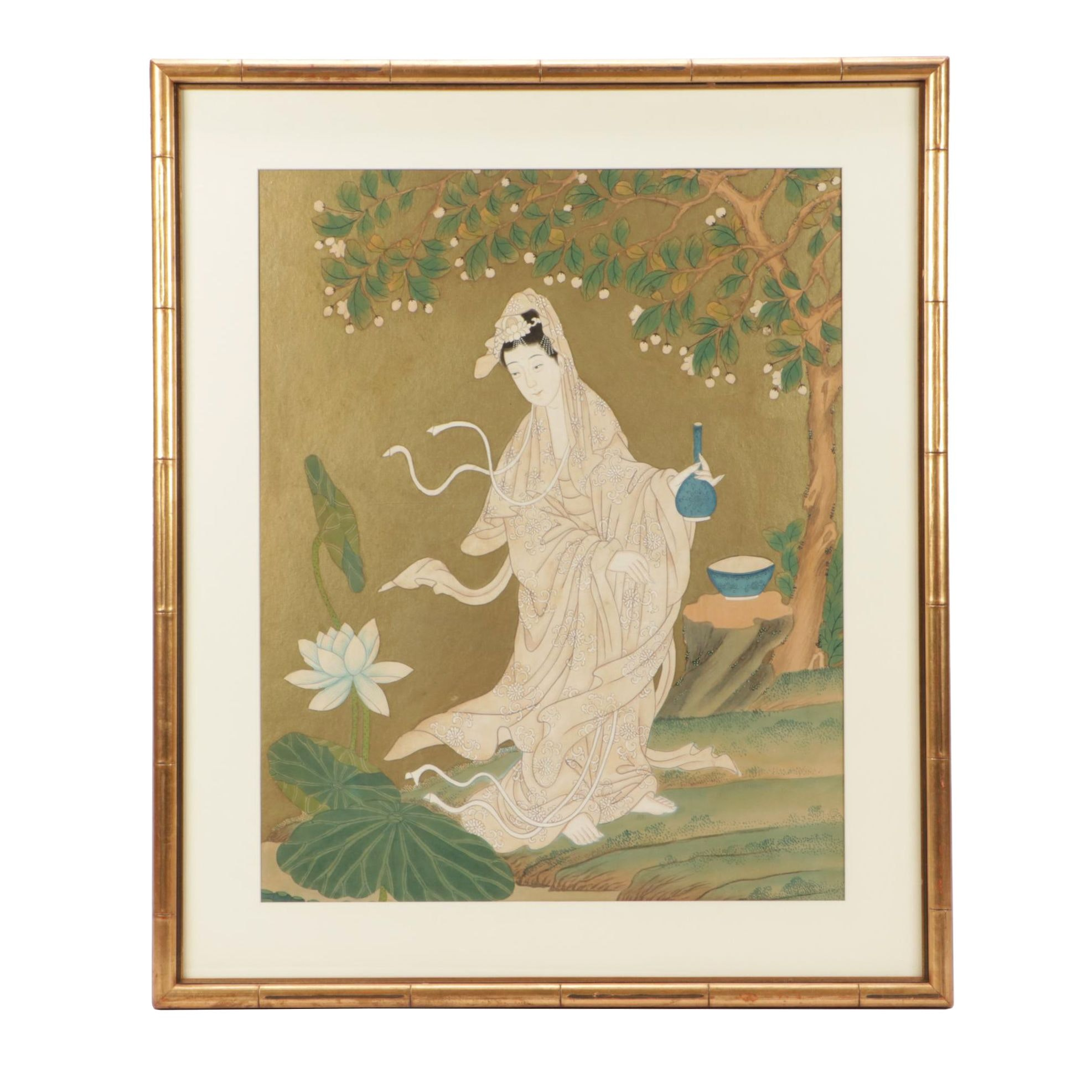 Chinese Ink and Watercolor Painting of Woman in Garden