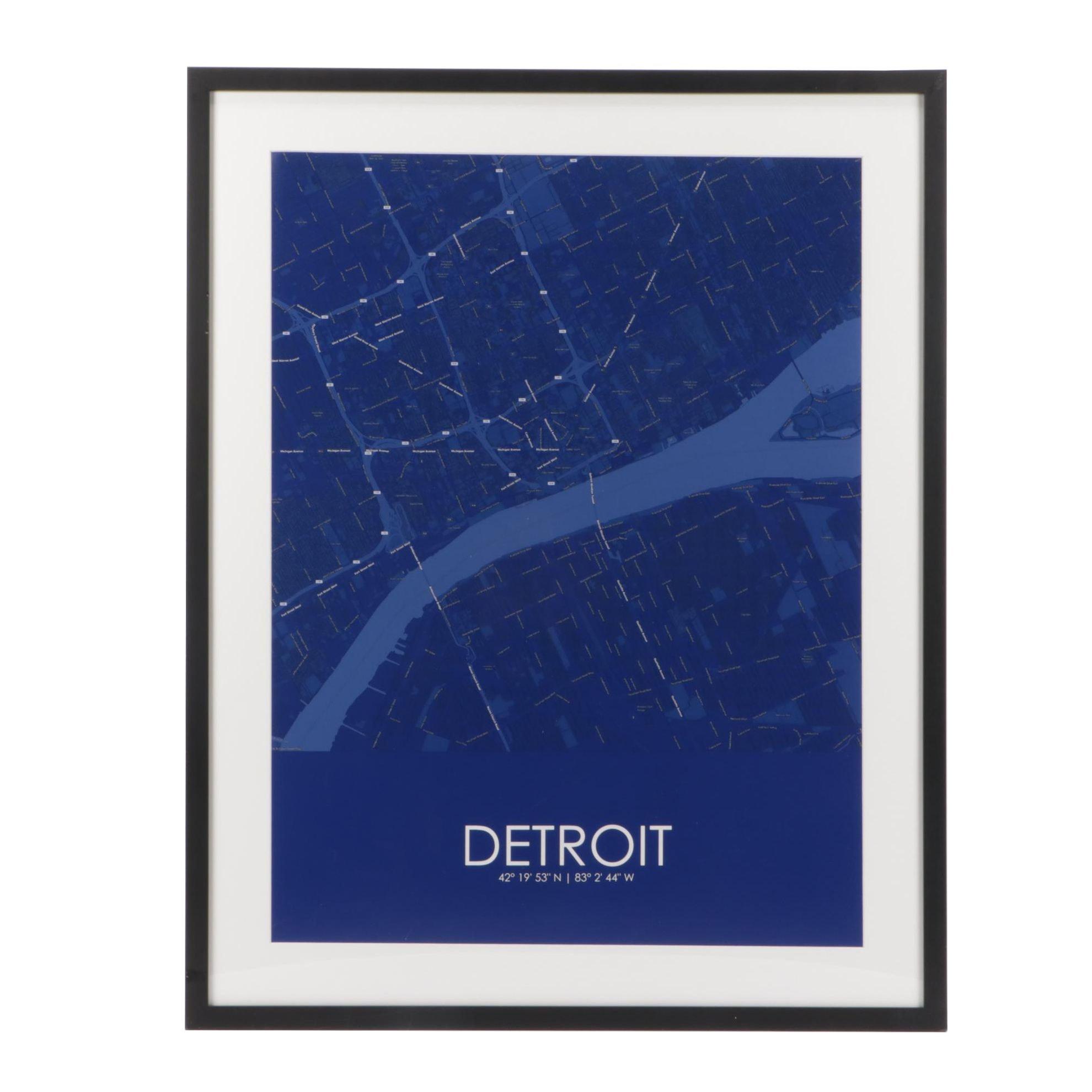 Digital Photographic Print of City Street Plan for Detroit