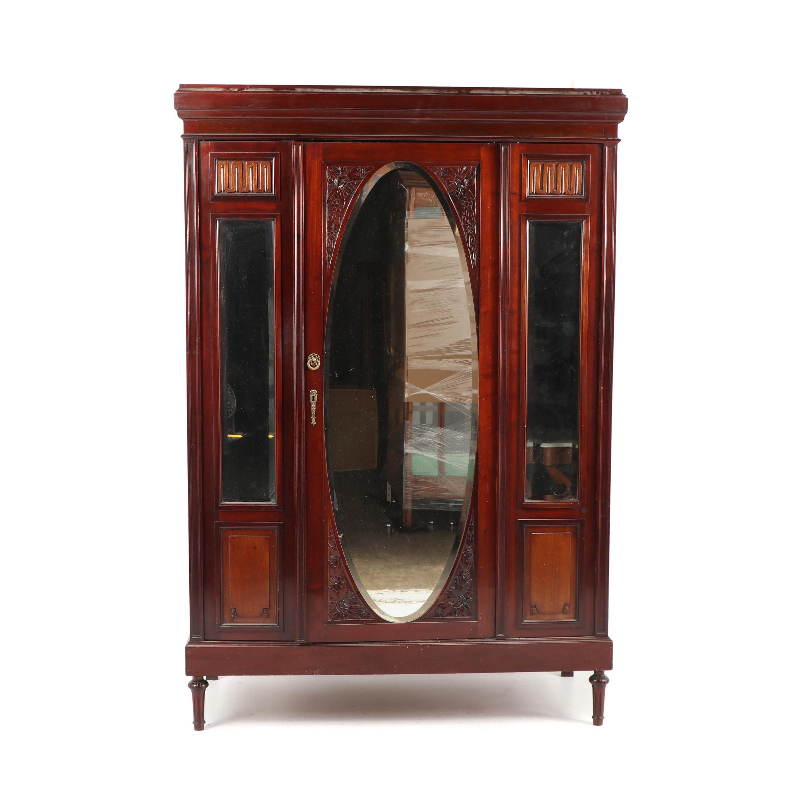 Cherry Wardrobe with Beveled Mirror Doors