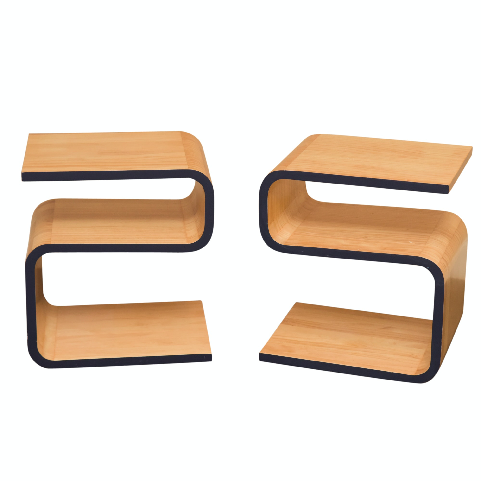 "Contemporary Wood Grain Laminate ""S"" Side Tables by Pottery Barn Teen"