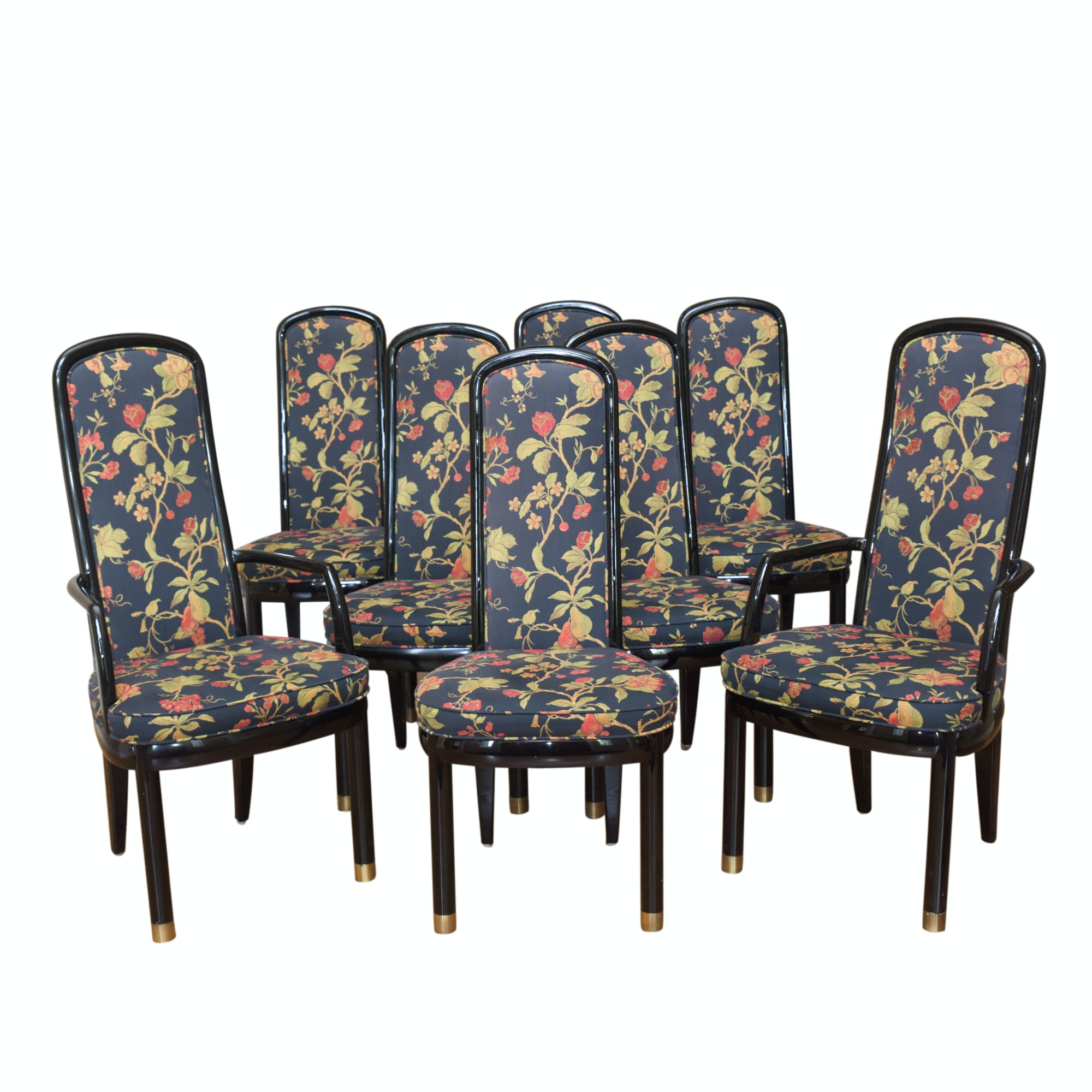 "Floral Upholstered ""Scene Three"" Dining Chairs by Henredon"