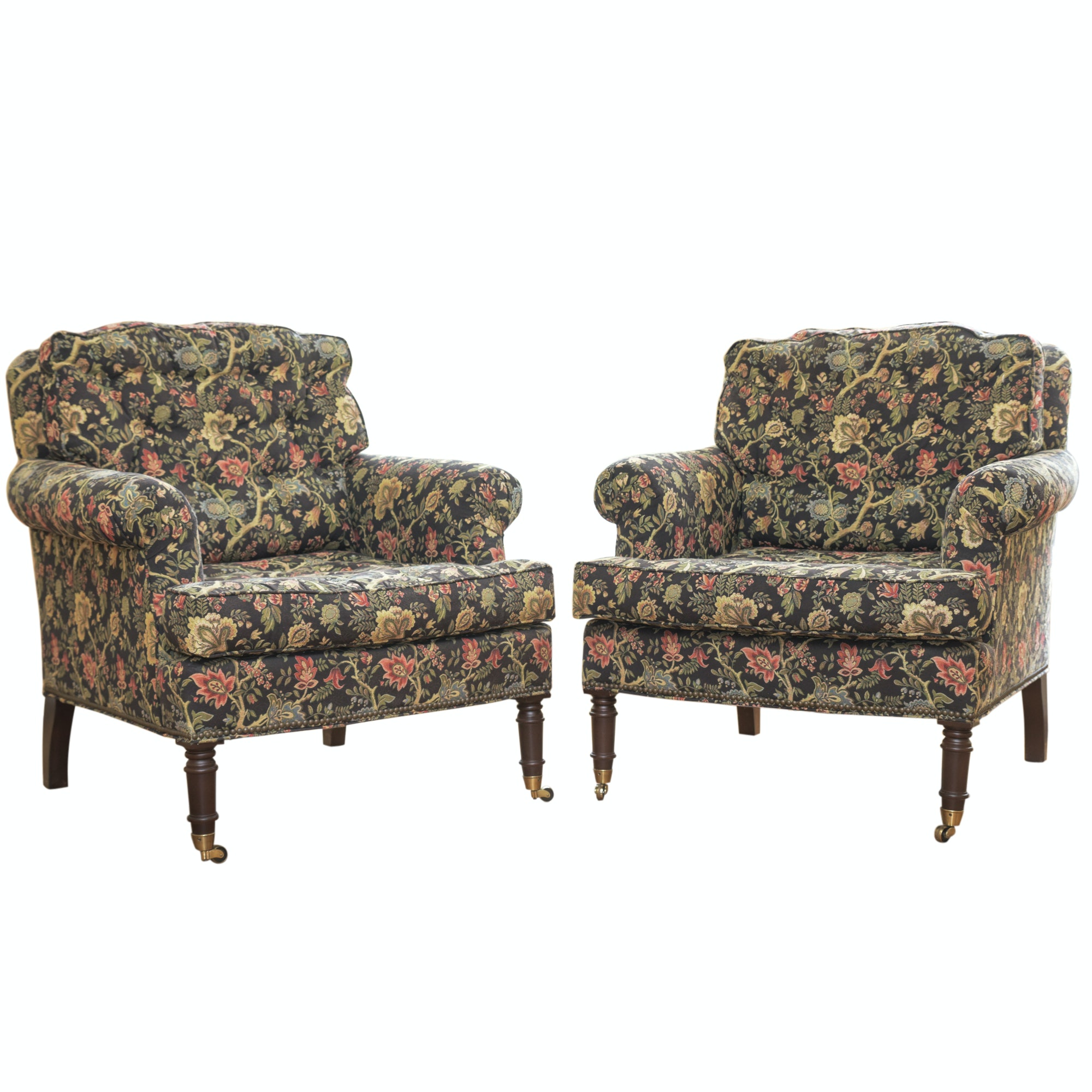 Federal Style Floral Upholstered Armchairs by Lillian August, 21st Century