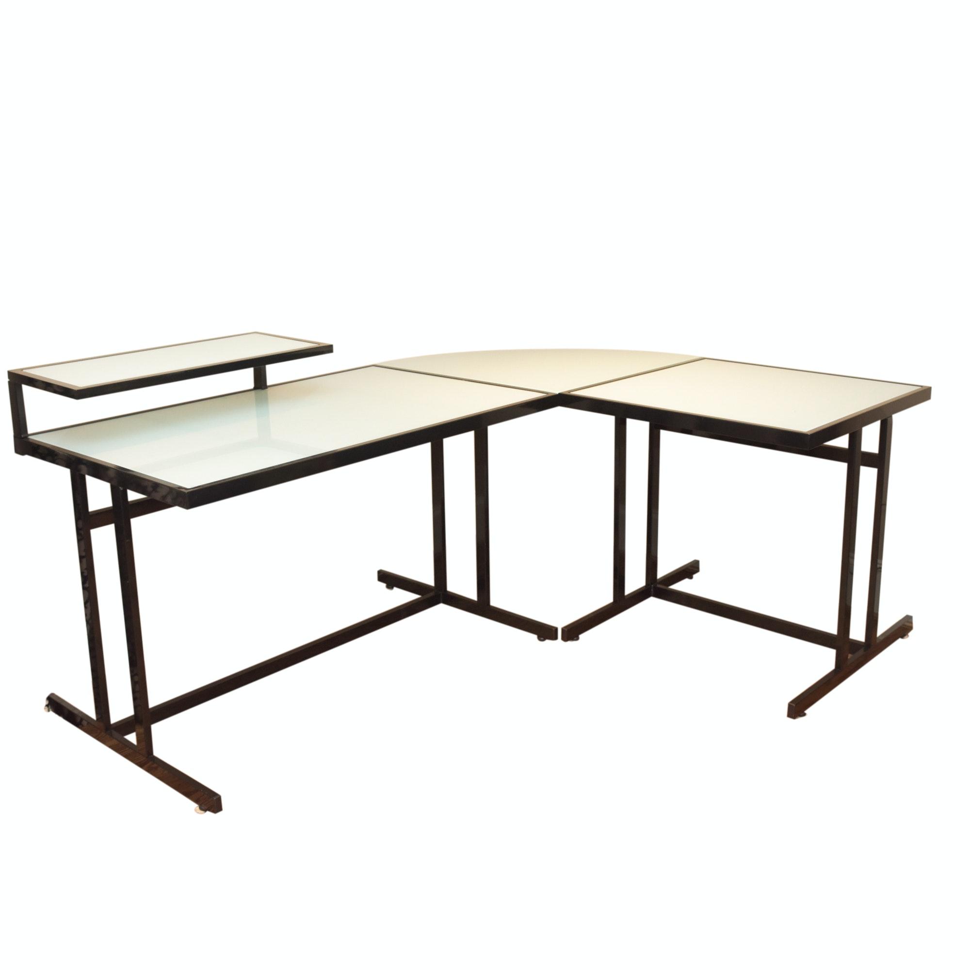 Glass and Metal Corner Desk