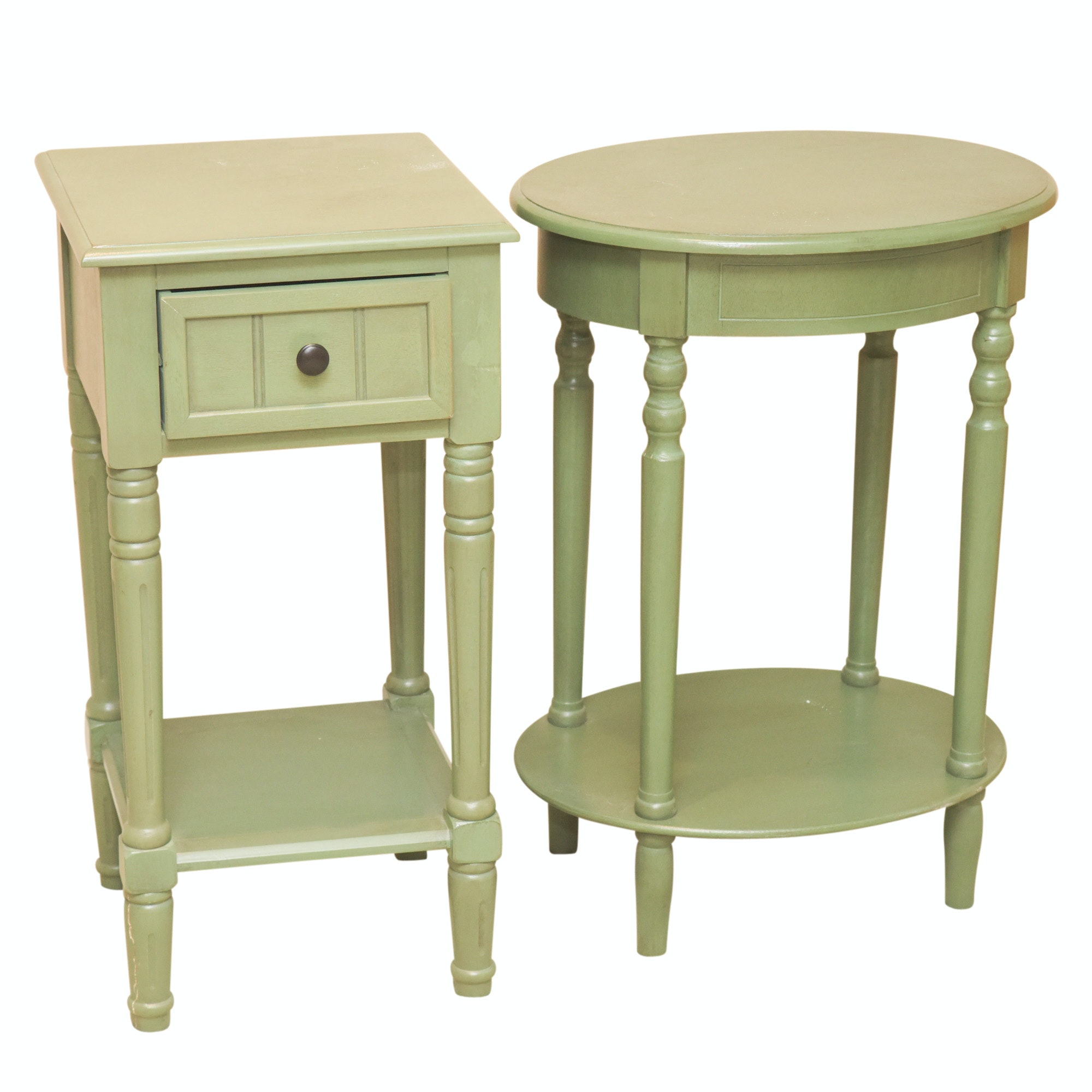 Contemporary Green Painted Side Tables
