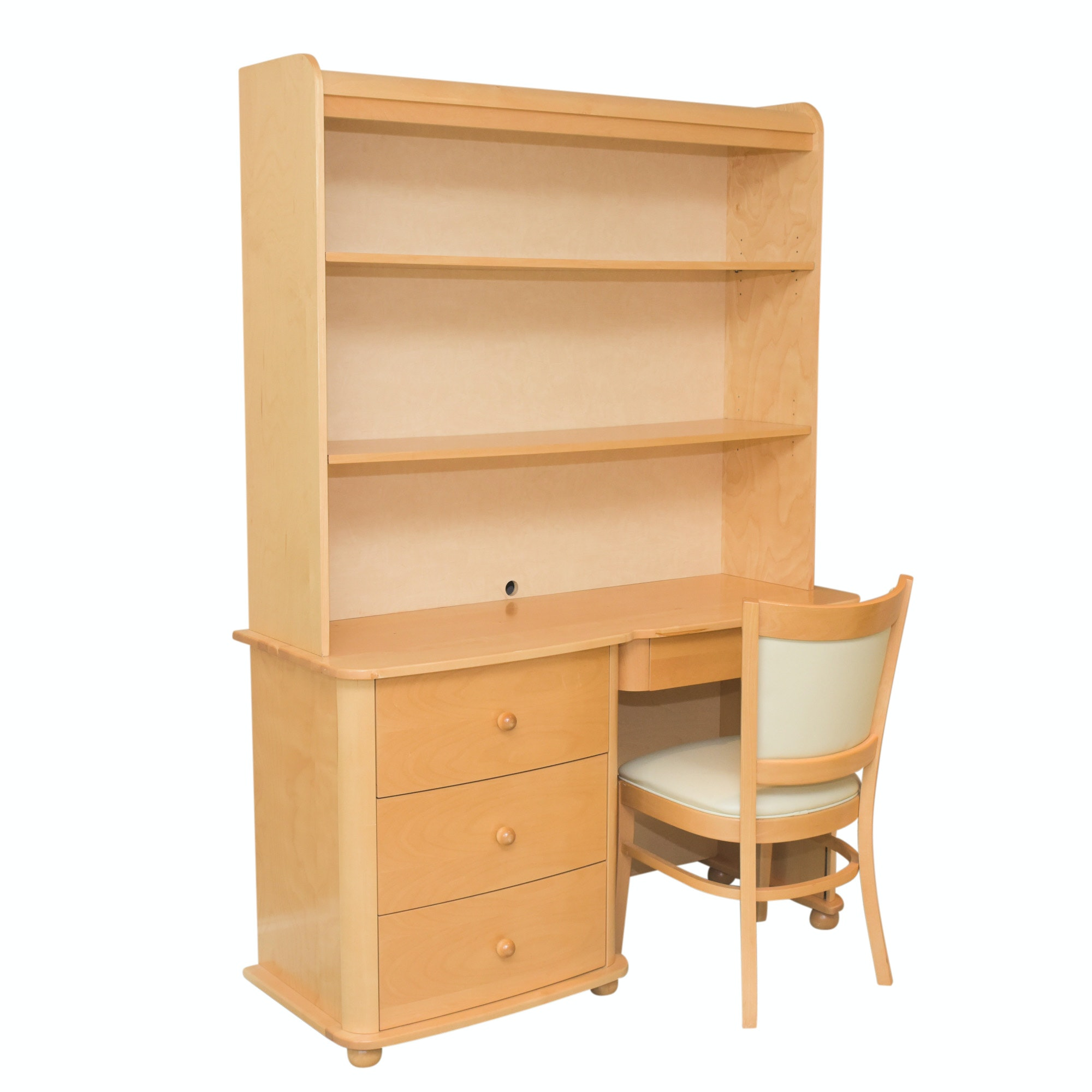 Contemporary Maple Finish Desk with Hutch and Side Chair by Pali Design