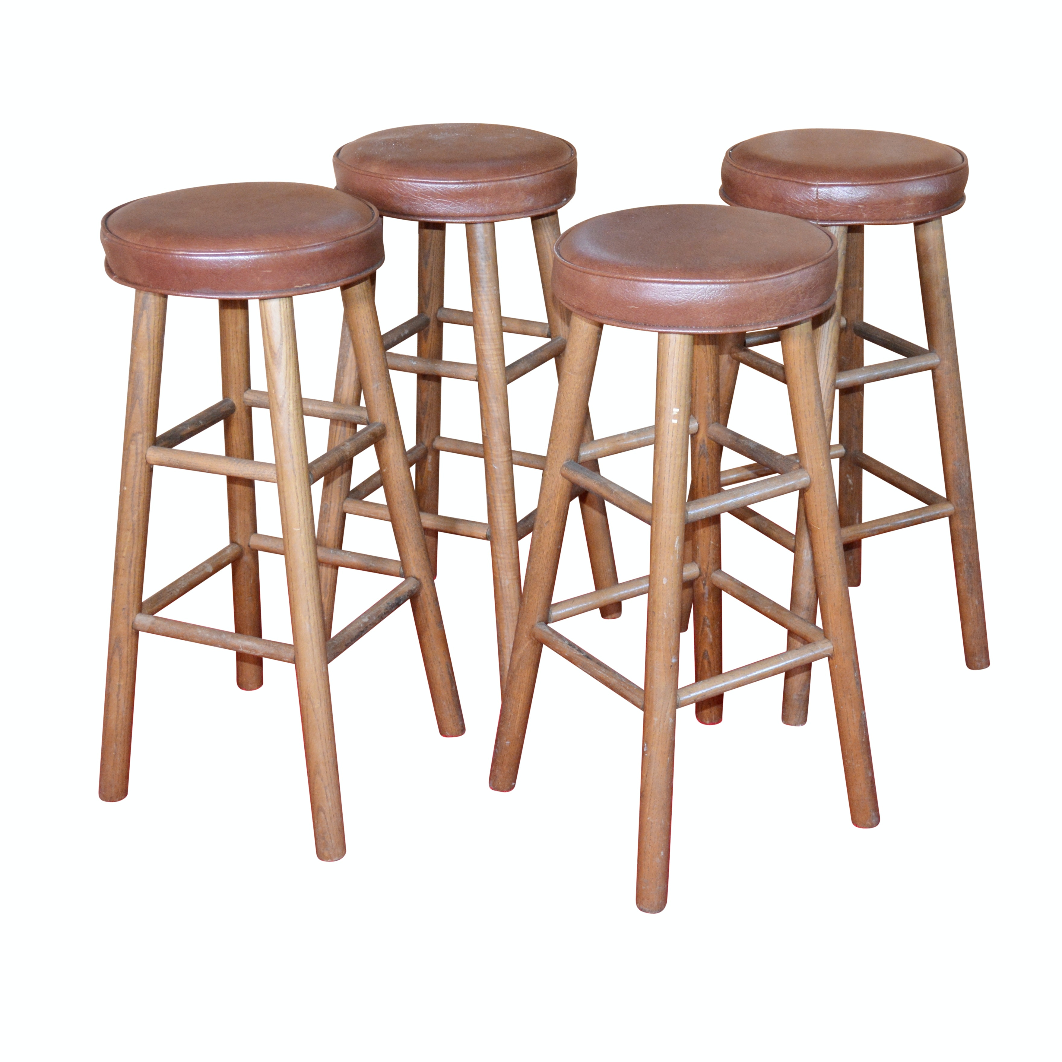 Four Oak Bar Stools by Central Chair Co., Mid-20th Century