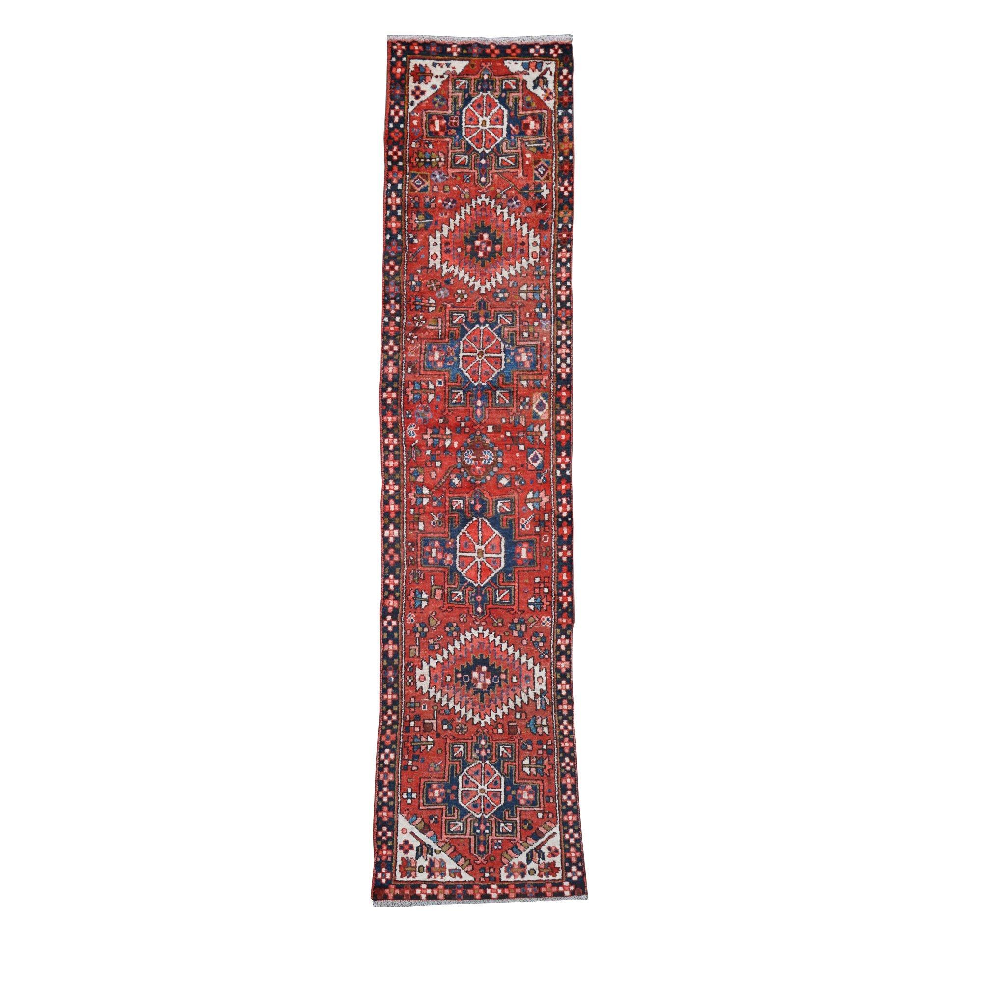 Hand-Knotted Persian Karaja Wool Runner