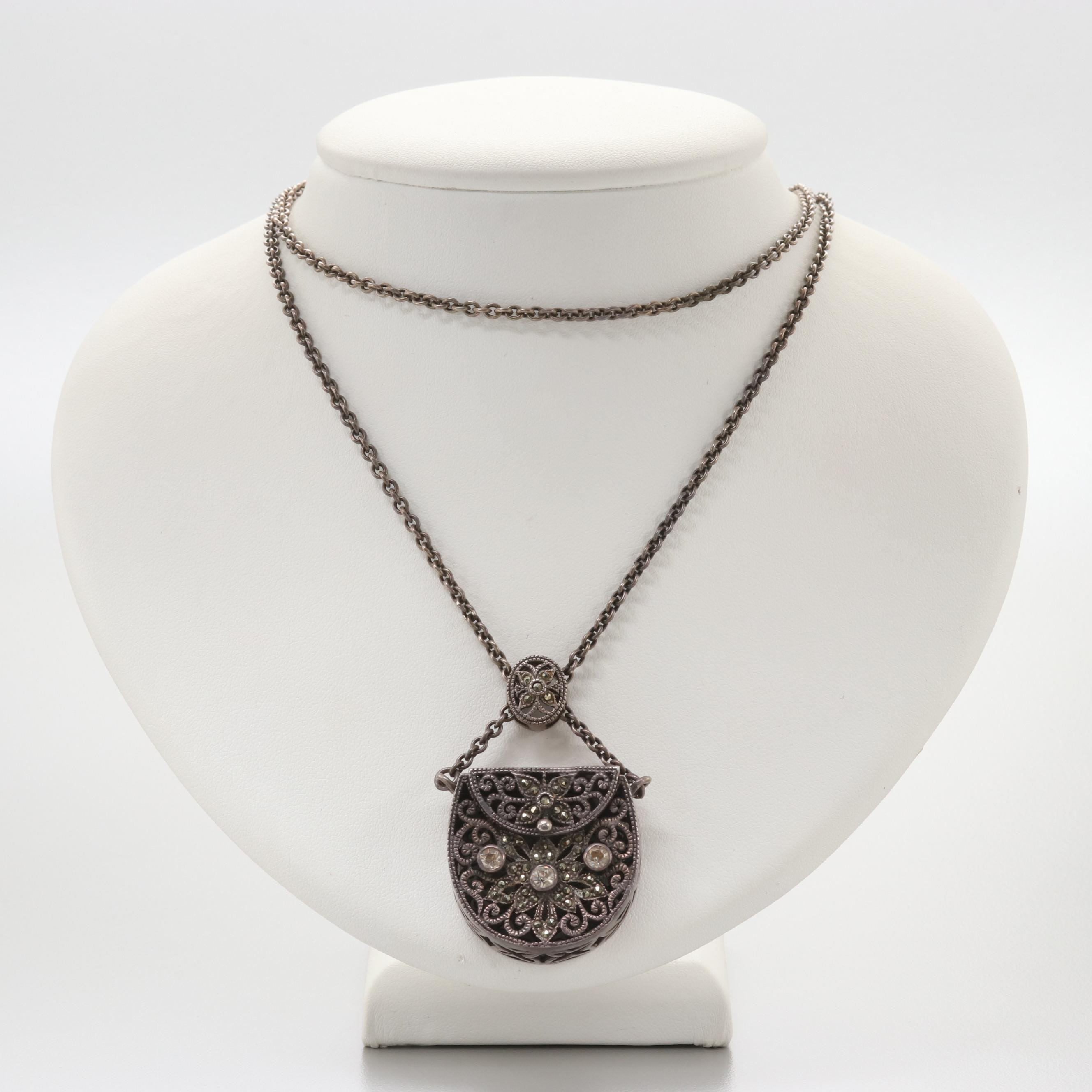 Sterling Silver Glass and Marcasite Openwork Purse Pendant Necklace