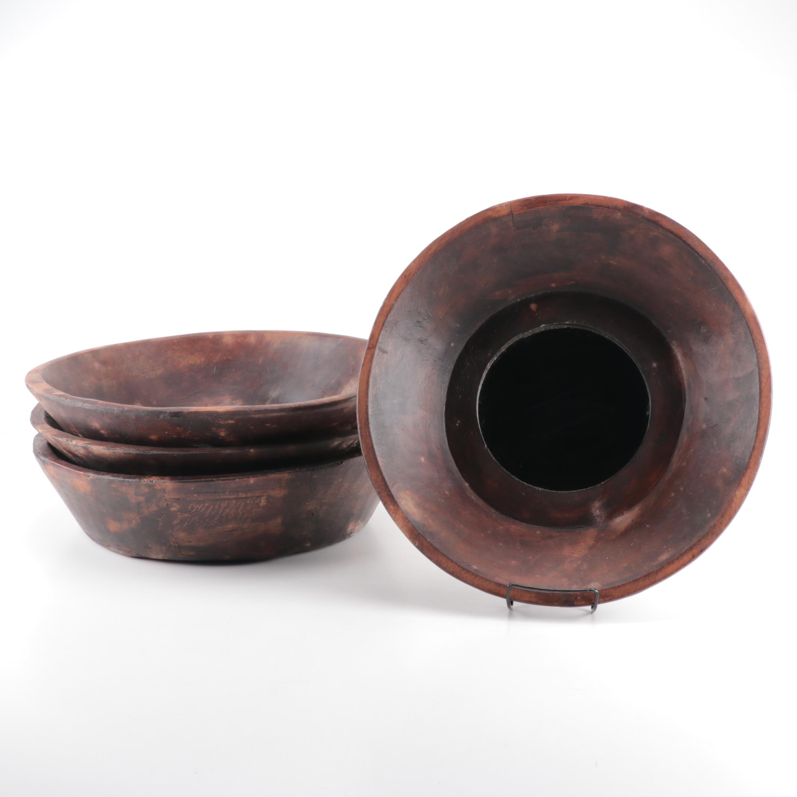 Decorative Wooden Bowls with Mirrored Centers