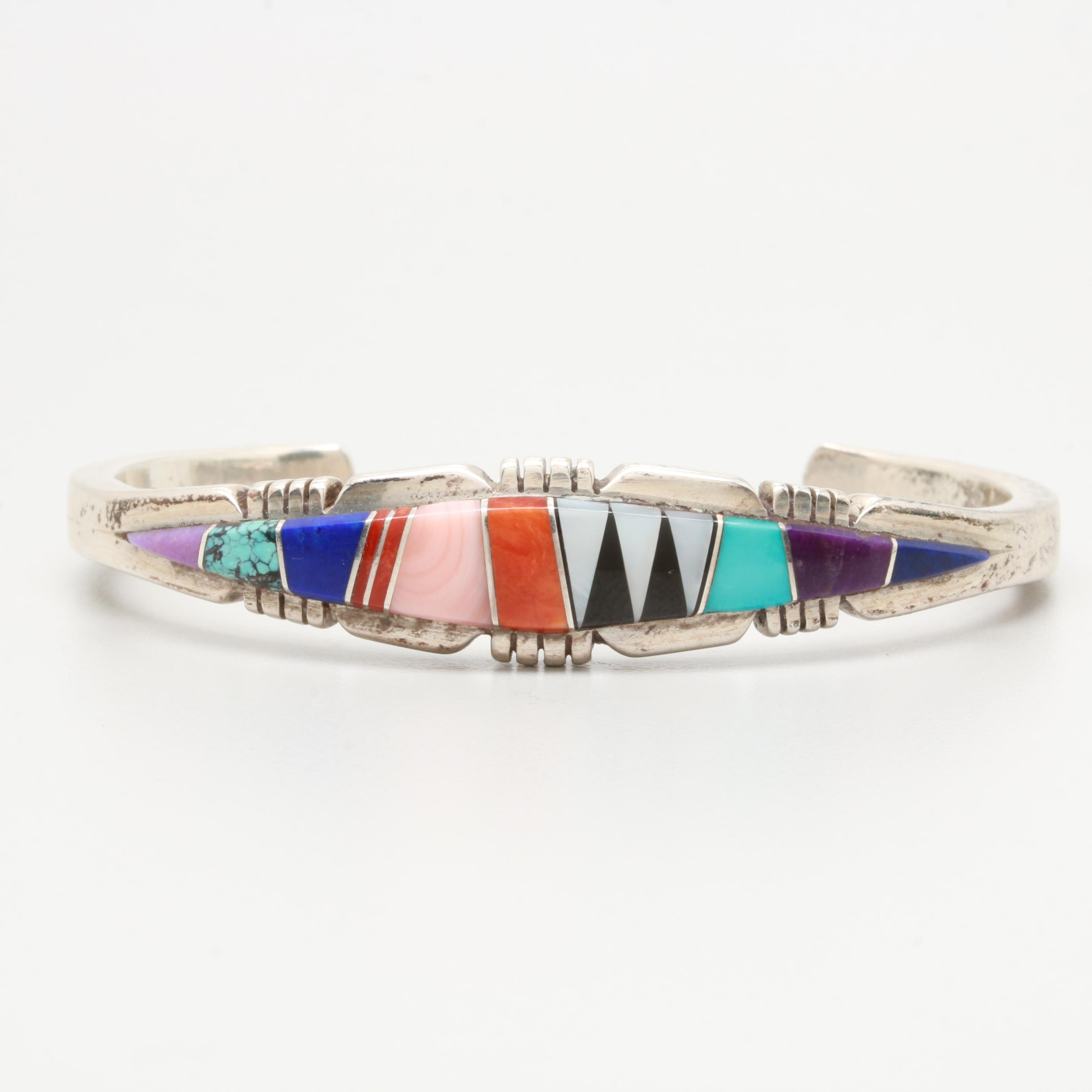 Linette Laiwakete Zuni Sterling Silver Spiny Oyster and Gemstone Cuff Bracelet