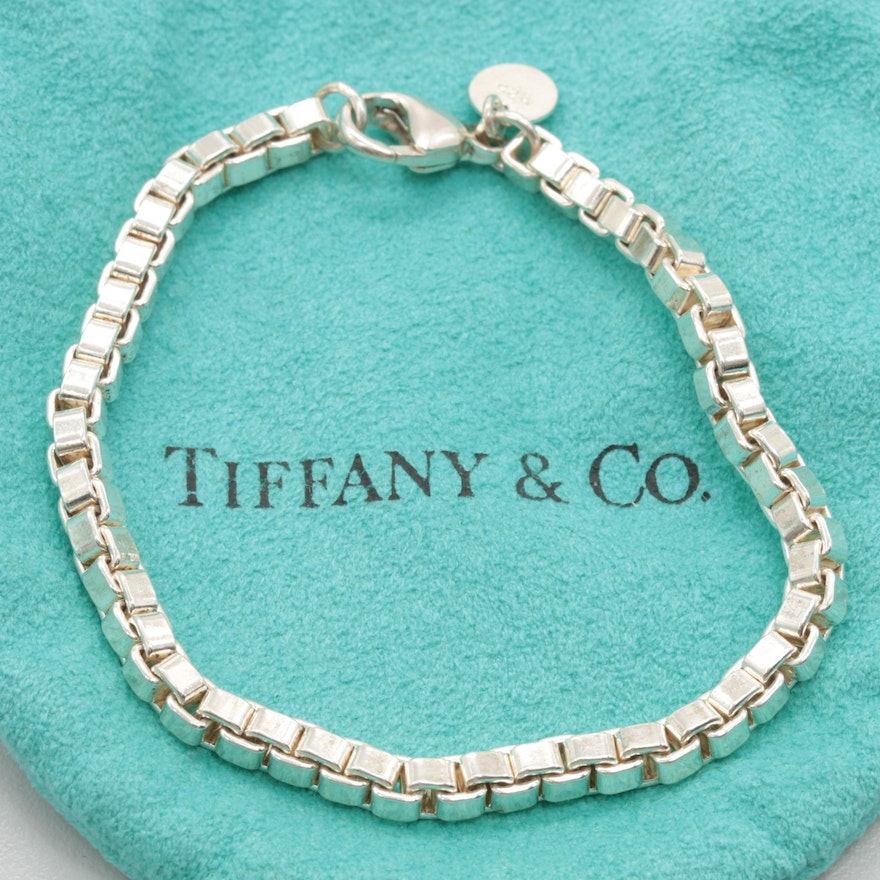 09ce6f326 Tiffany & Co. Sterling Silver Box Chain Bracelet With Travel Pouch | EBTH