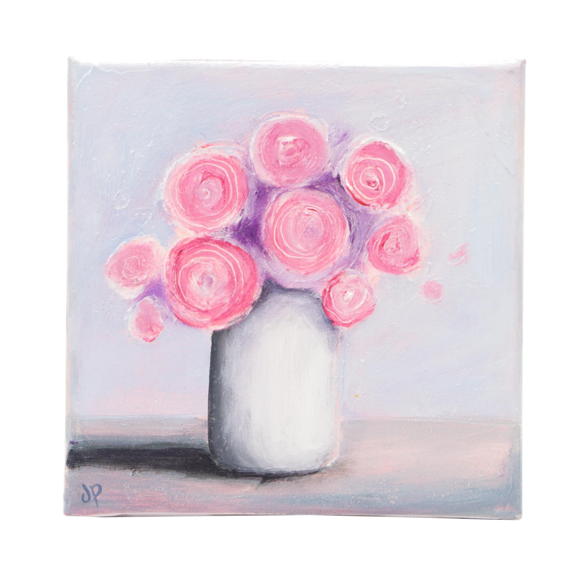 """Jane Palmer Oil Painting """"Pink Roses"""""""