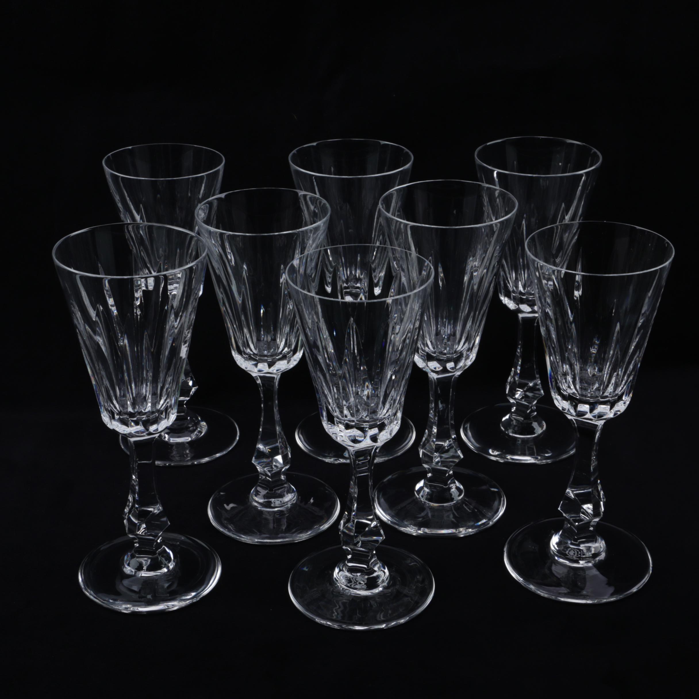"Josair ""Emperor Clear"" Crystal Wine Glasses, Circa 1964-75"