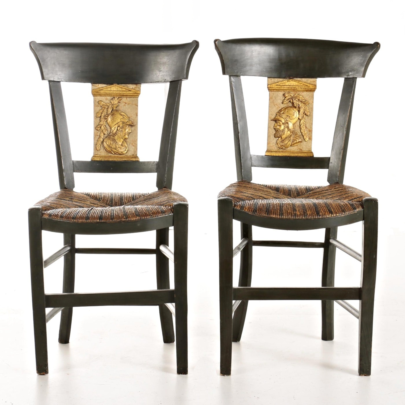 Pair of Directoire Style Parcel-Gilt and Painted Side Chairs, 20th Century