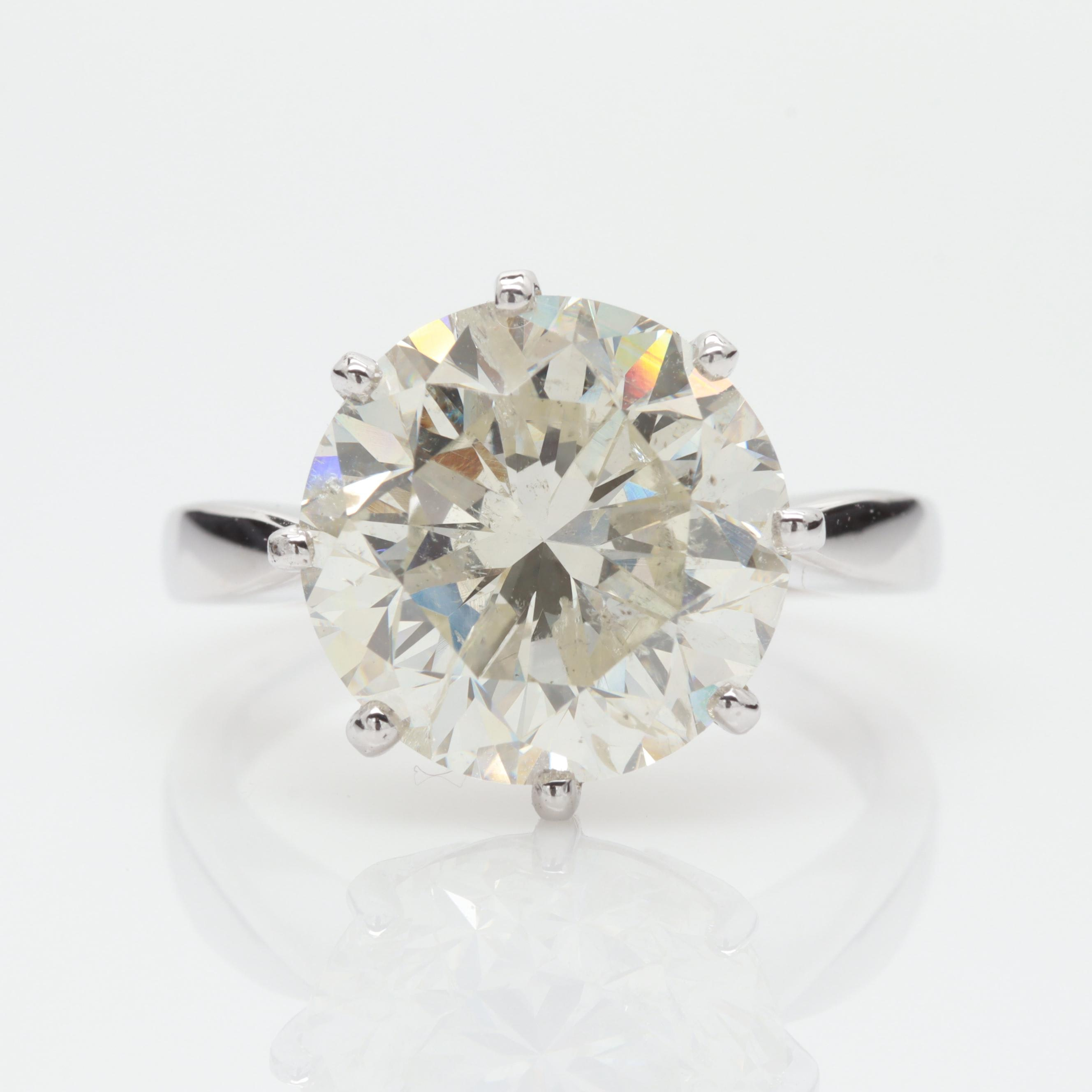 18K White Gold 7.00 CT Diamond Solitaire Ring