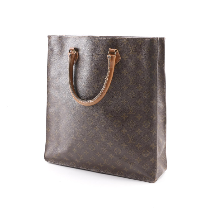 c56e8609b157 Vintage The French Company for Louis Vuitton Sac Plat Monogram Canvas Tote  ...