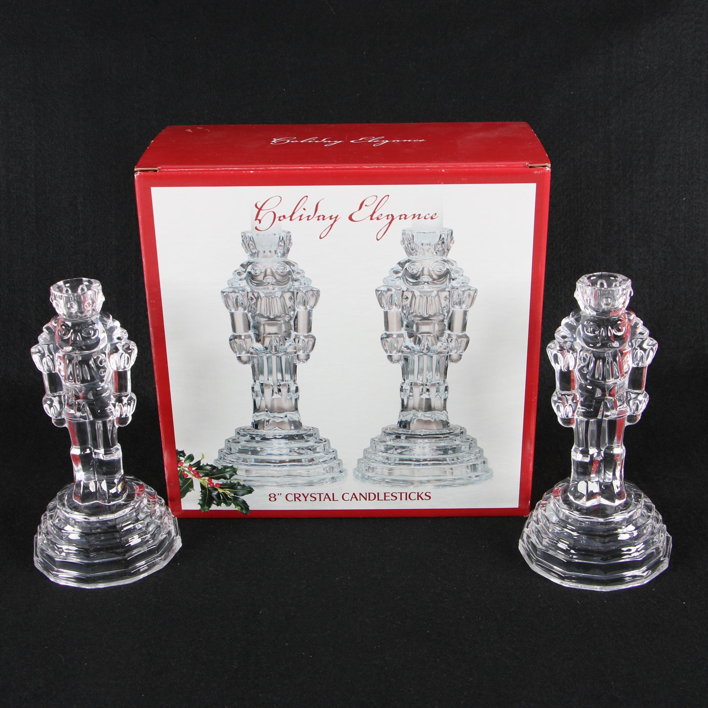 "St. George Crystal ""Holiday Elegance"" Figural Candlesticks"