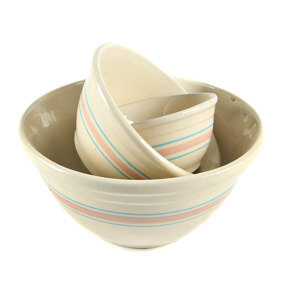"""McCoy """"Pink and Blue Stripes"""" Dough and Mixing Bowls"""