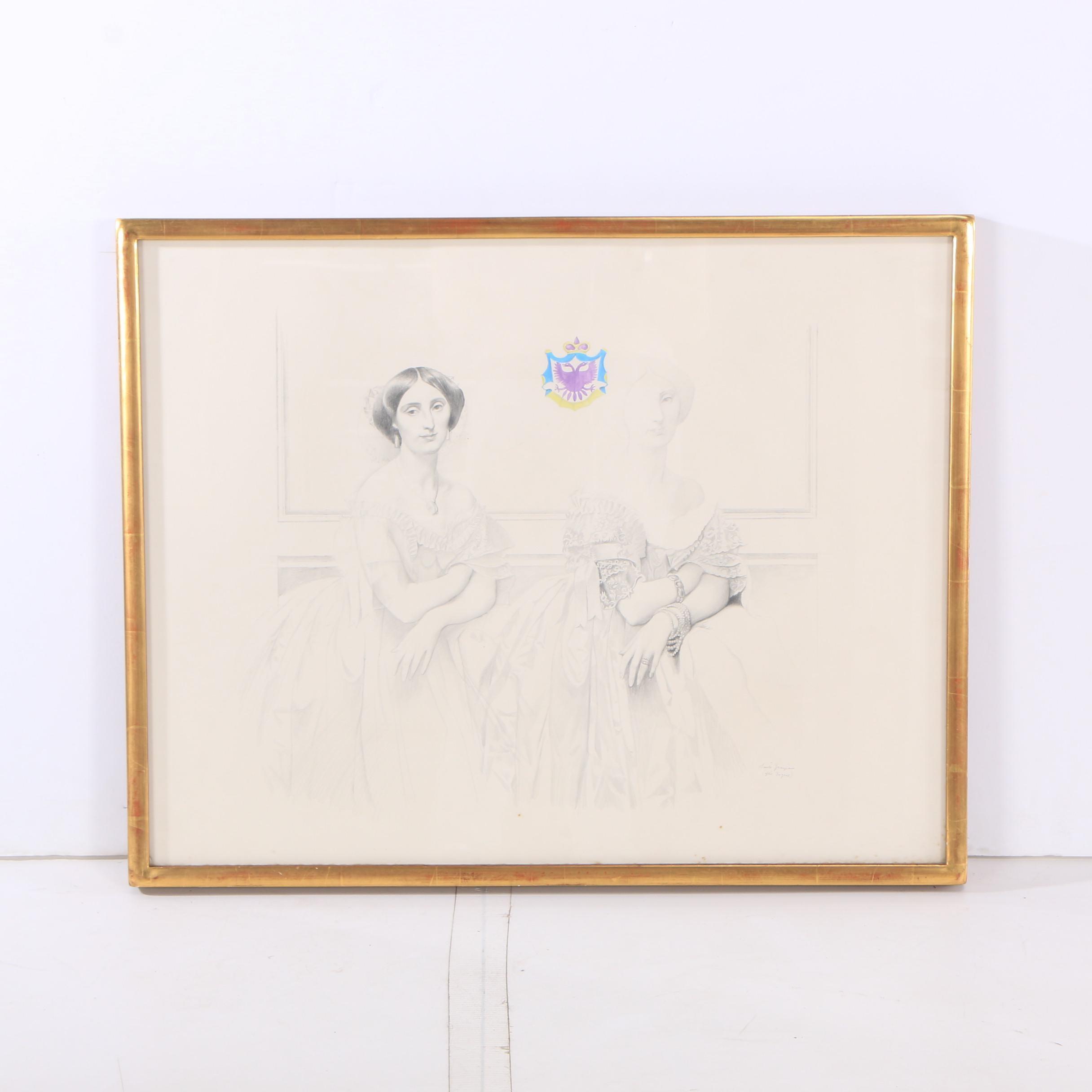"Santé Graziani Drawing ""The Princess, After Ingres"""