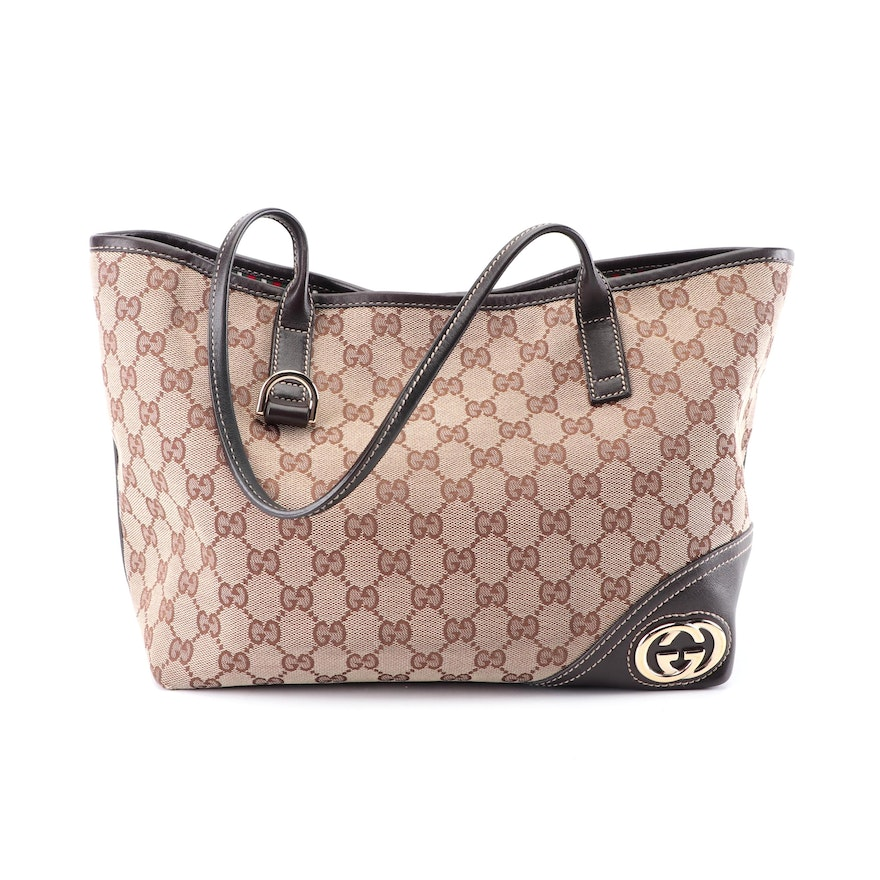 666e2fb66231 Gucci New Britt Brown GG Canvas and Leather Tote : EBTH