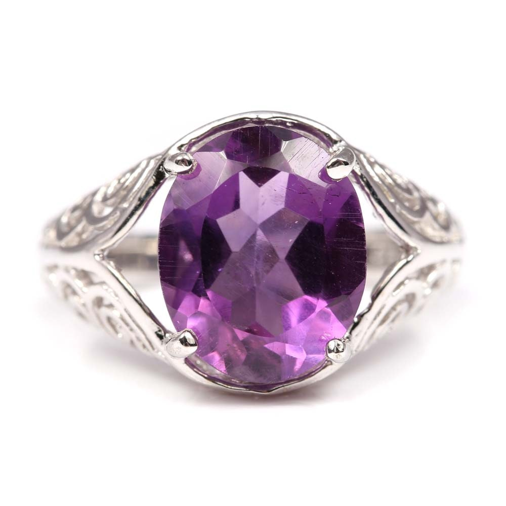 Sterling Silver and 4.63 CT Amethyst Ring