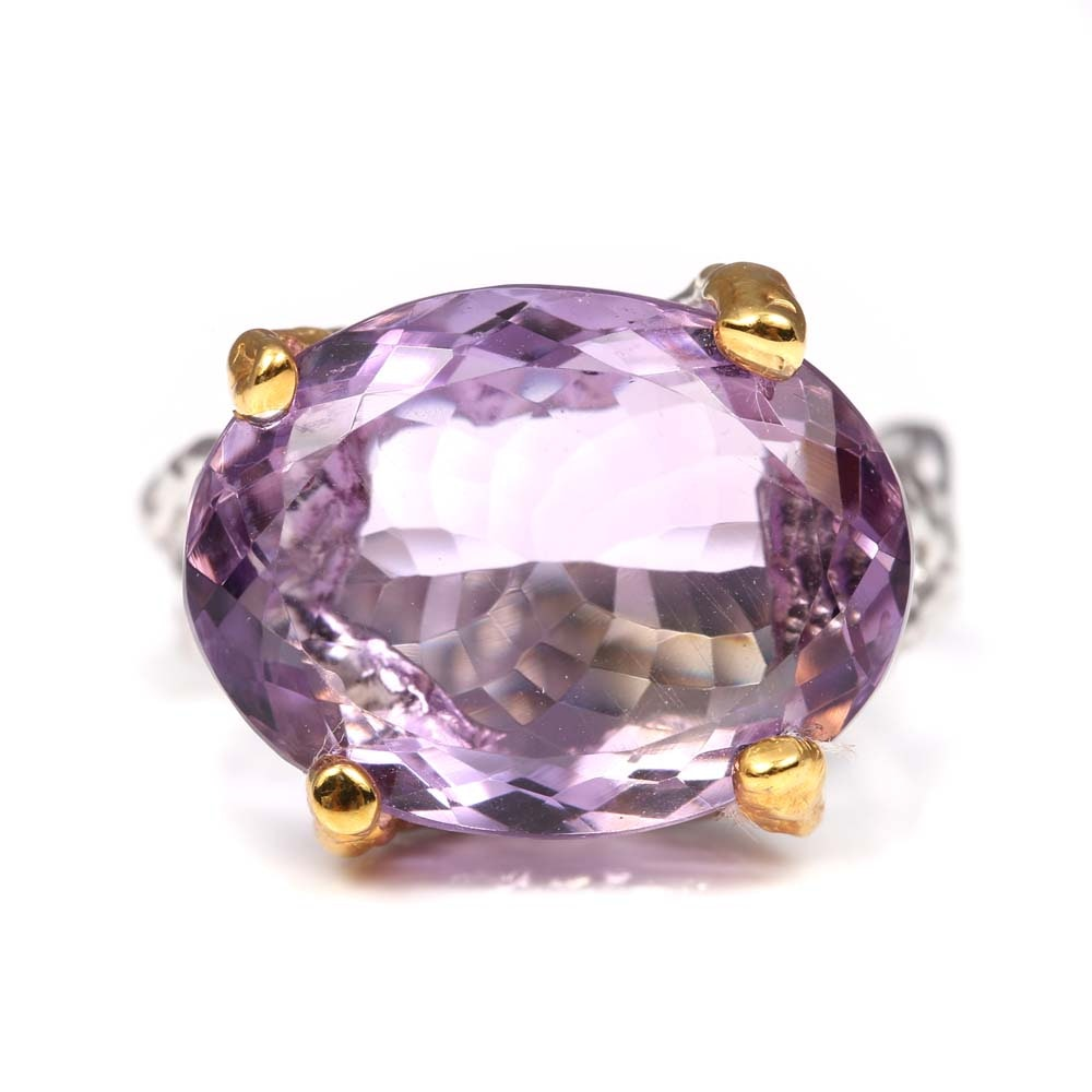 Sterling Silver and 10.23 CT Amethyst Ring