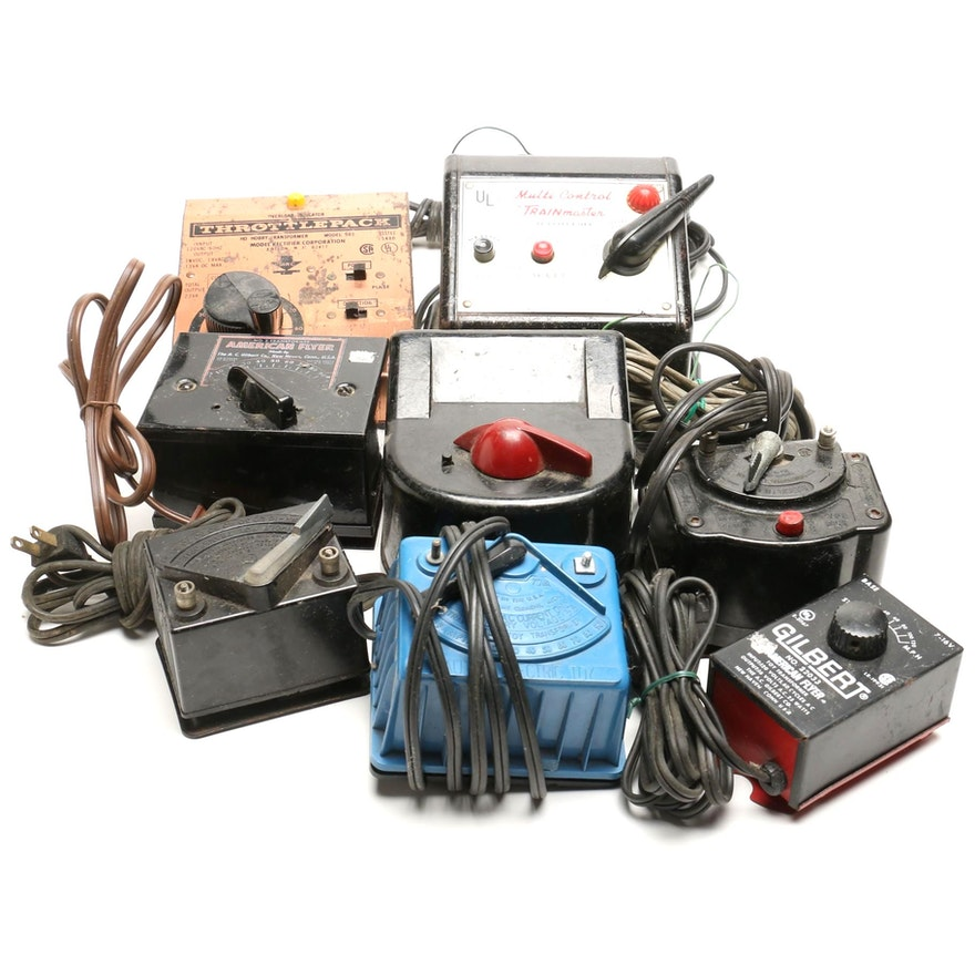 Eight Model Train Electric Transformers Including Lionel and American Flyer