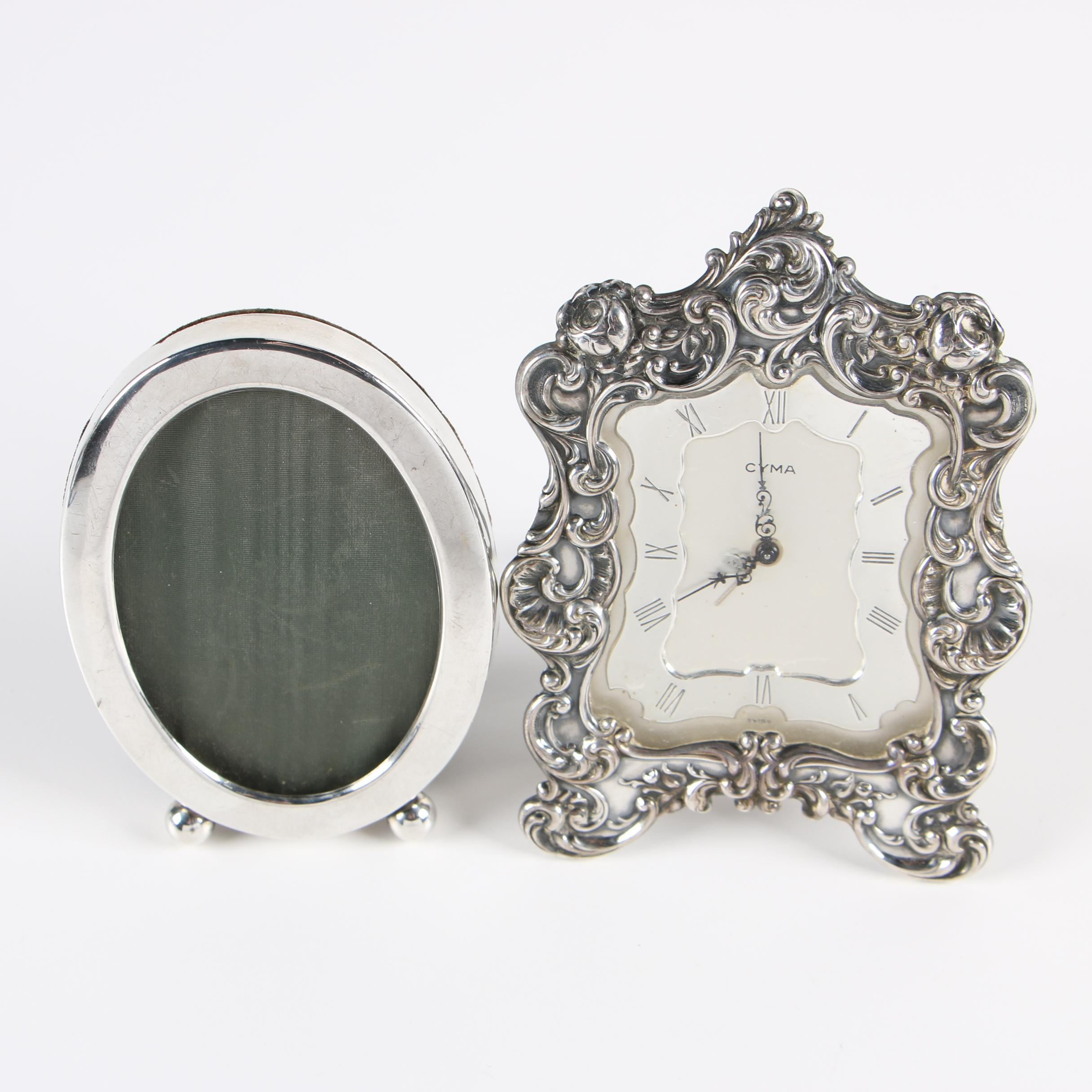 Gorham Sterling Silver Clock and Graff, Washbourne & Dunn Picture Frame