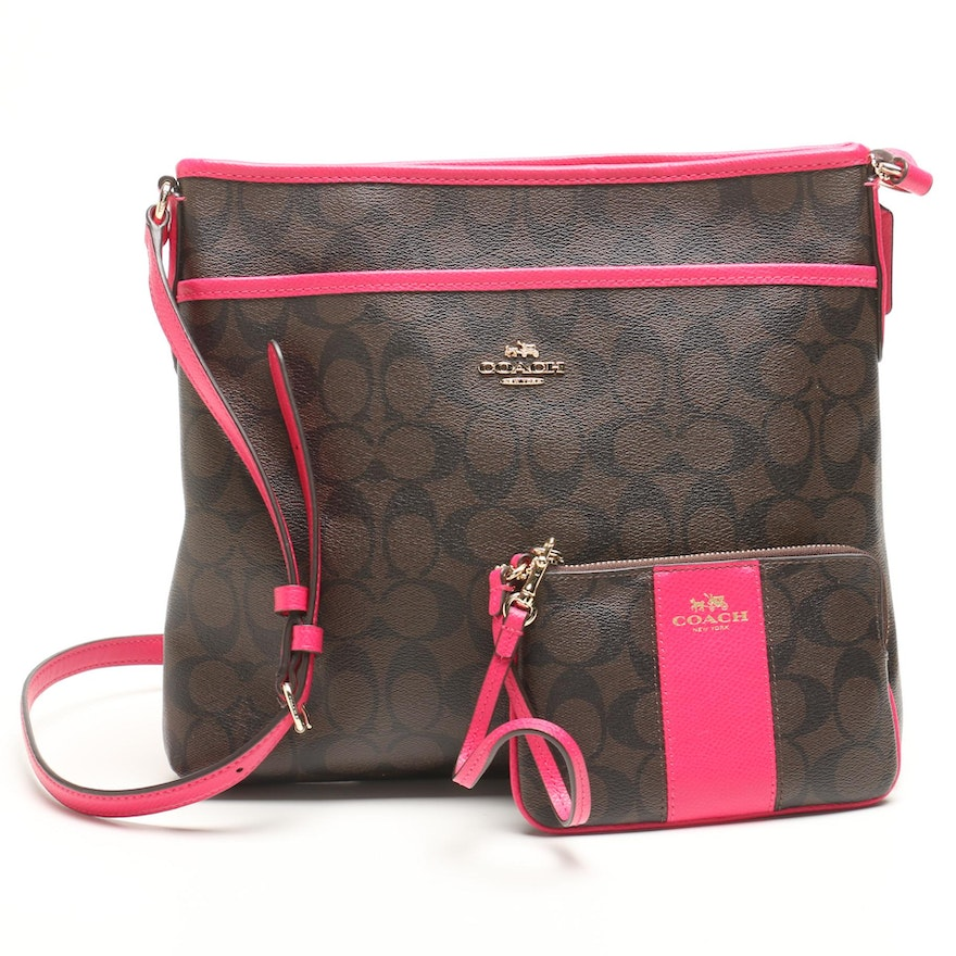 9694cf71431d Coach Signature Coated Canvas File Crossbody Bag with Matching Wristlet ...