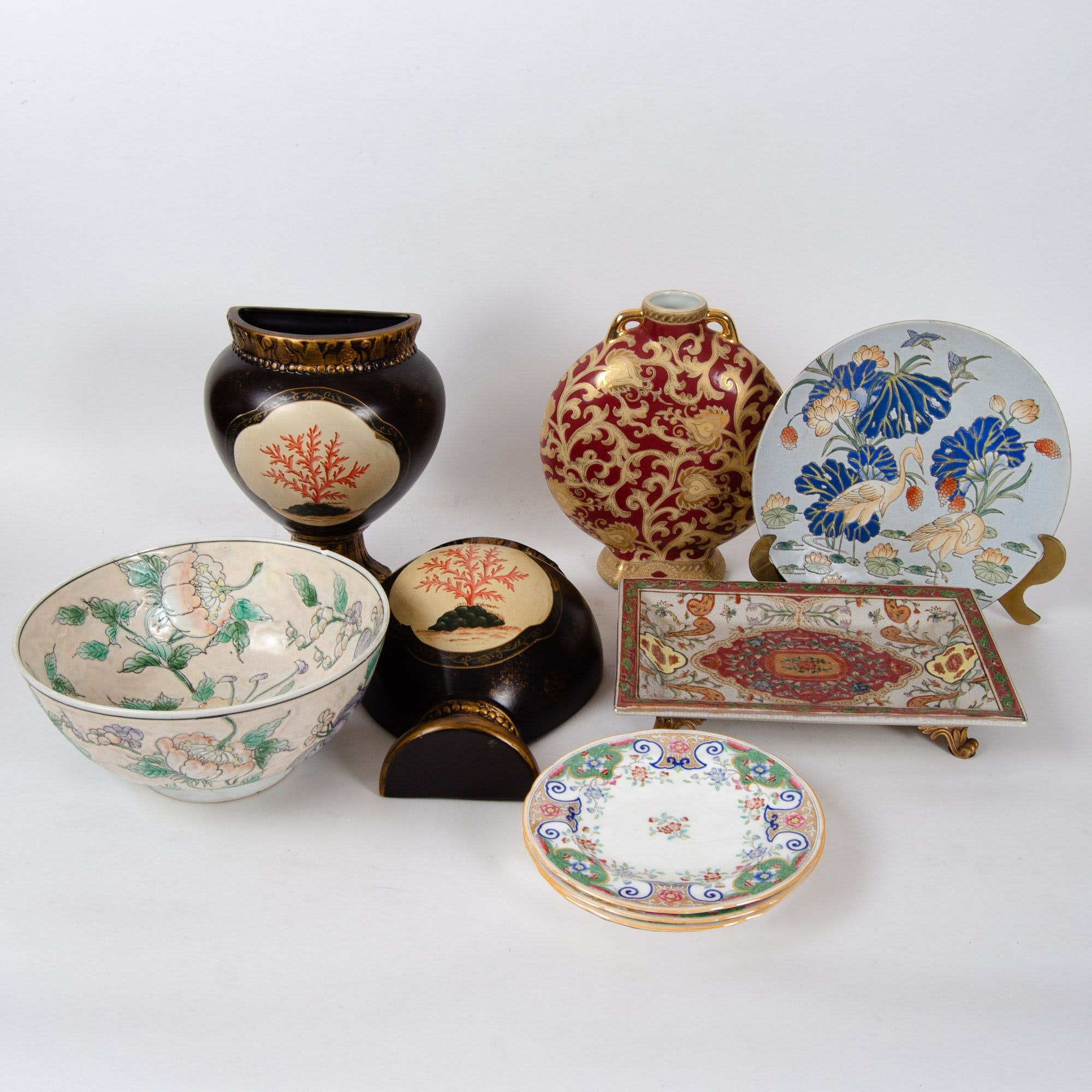 Antique Minton Plates and Assorted Asian Decor