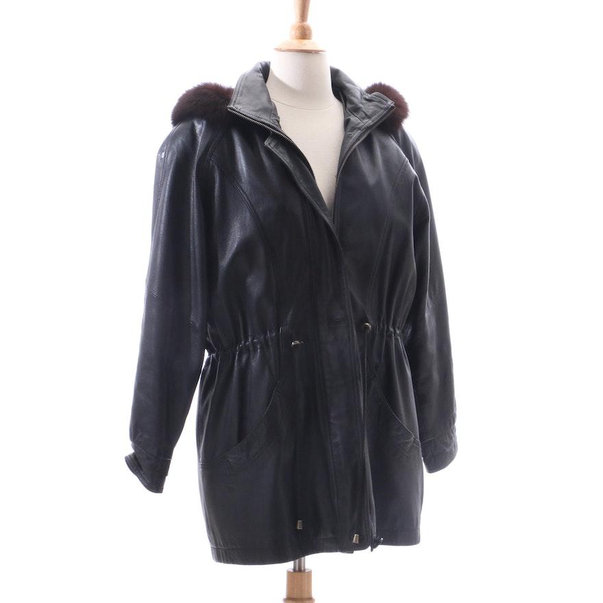1b15c10e965 Nina Ricci Fur Lined Black Leather Jacket | EBTH
