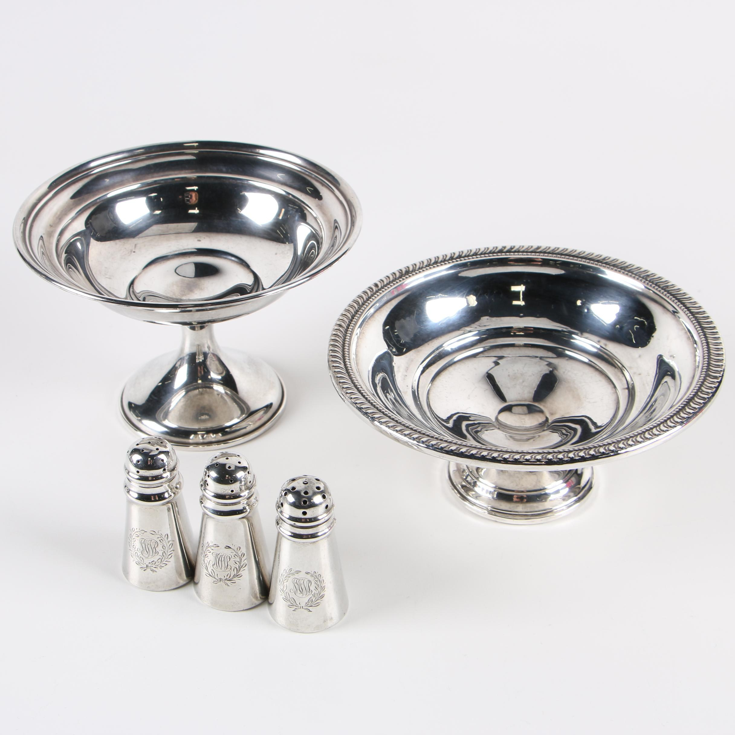 Gorham and Arrowsmith Weighted Sterling Compotes with Sterling Shakers