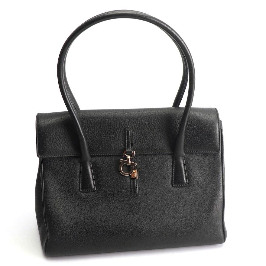 Salvatore Ferragamo Black Pebbled Leather Handbag   EBTH 5b6ec74f55e84