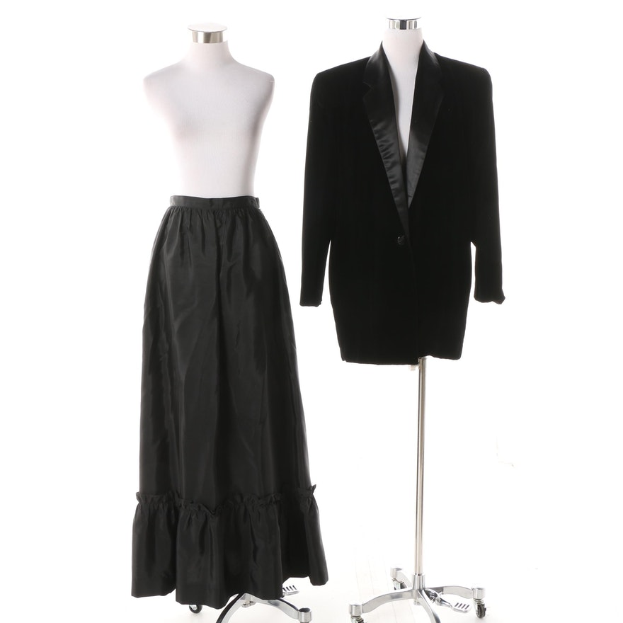 8a8650ad 1980s Harry Acton Velveteen Jacket and Taffeta Maxi Skirt : EBTH