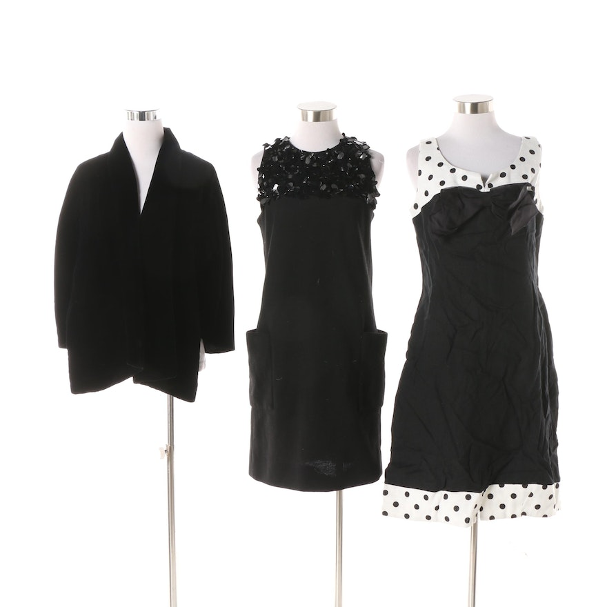 4ce7c5b855aaf0 Two Vintage 1960s Sleeveless Party Dresses and Black Velvet Stole   EBTH