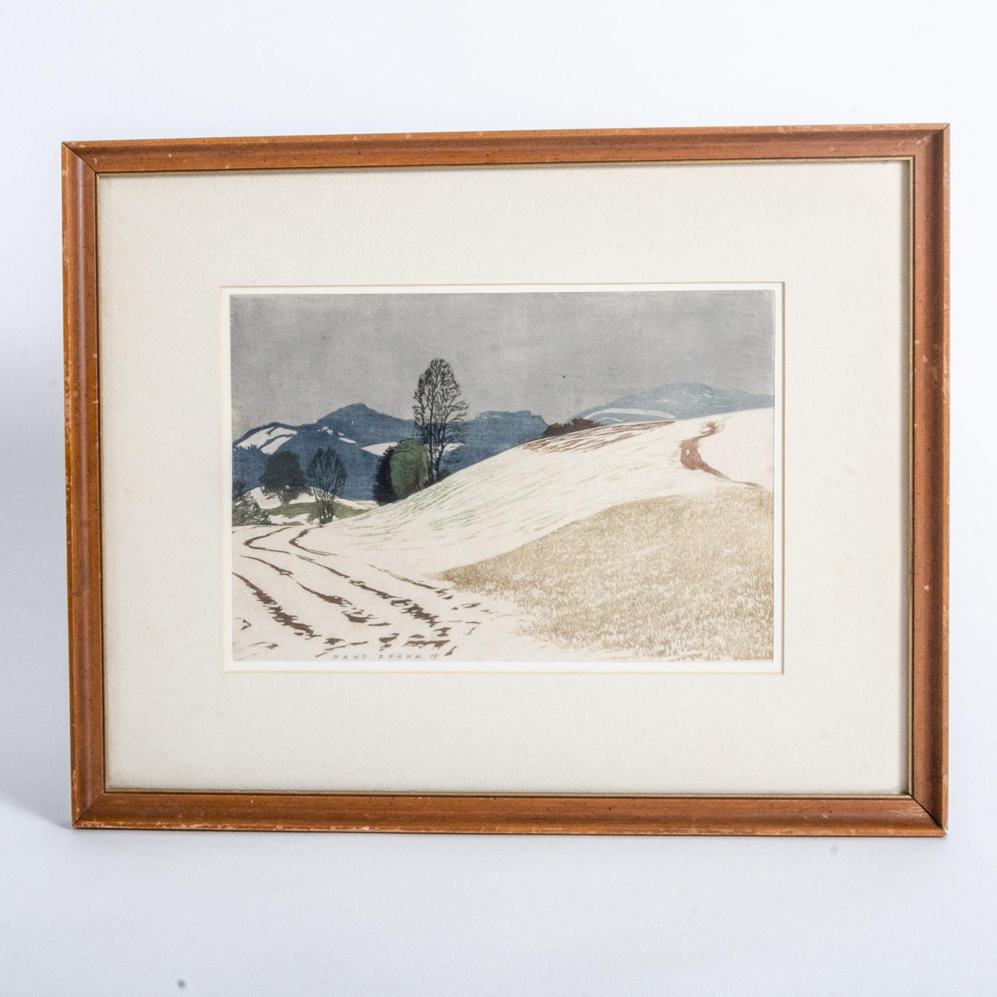 Hans Frank Hand Colored Woodcut, Vienna, Austria Landscape