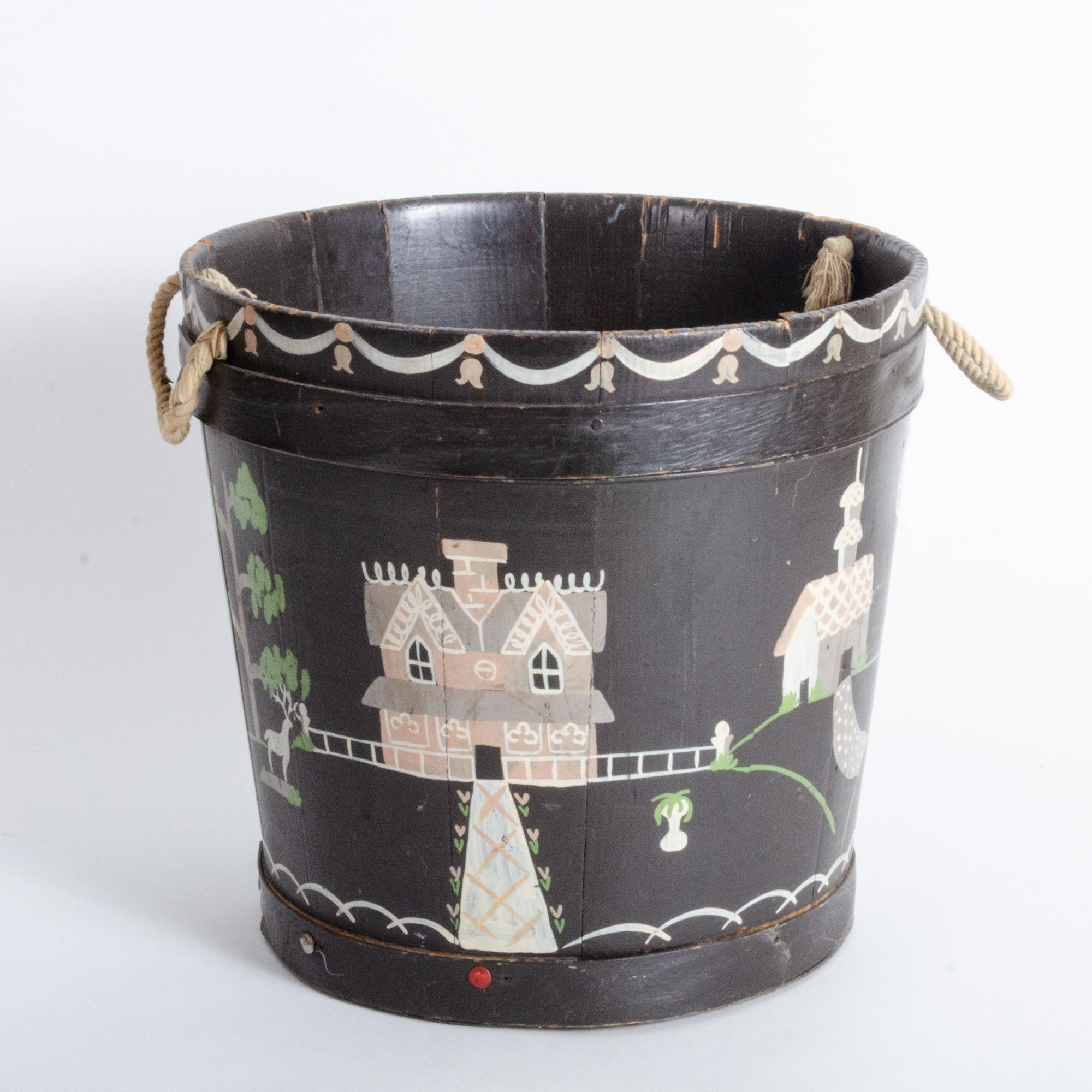 Helen Hume Stenciled Wooden Bucket