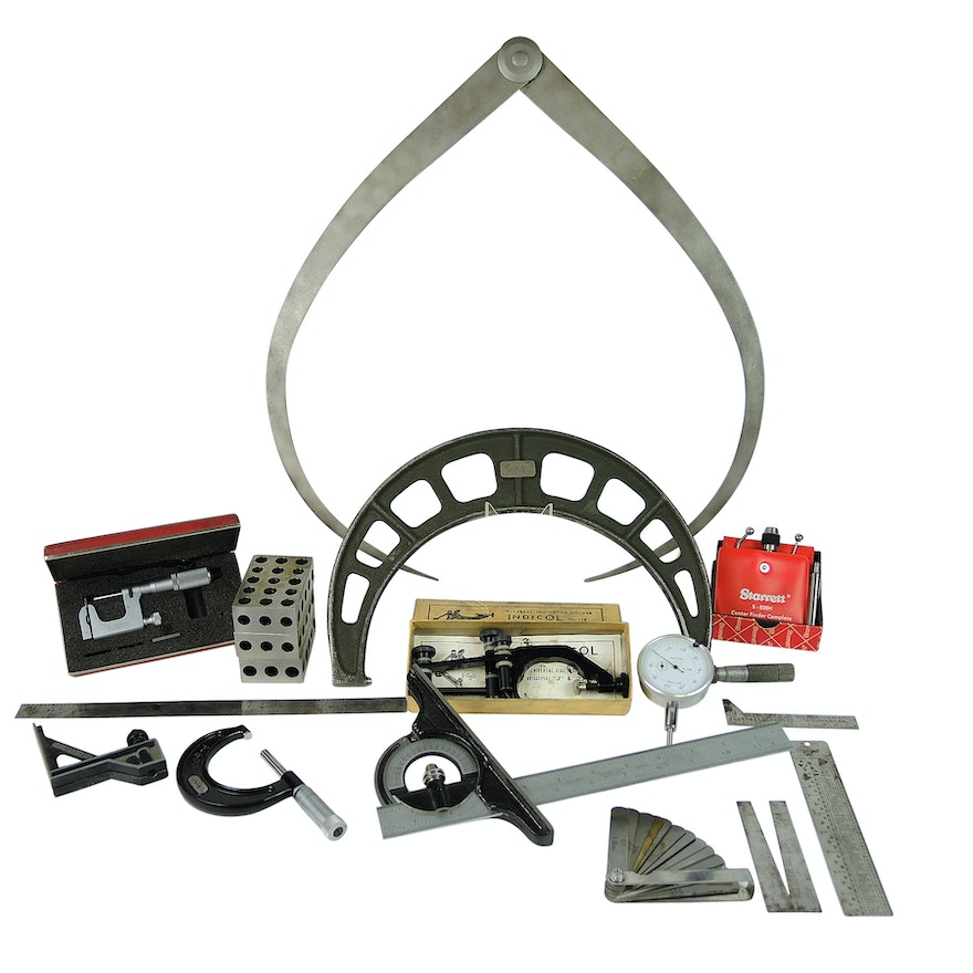Specialized Machinists Tools Including Micrometer, Calipers, and Machinist Block